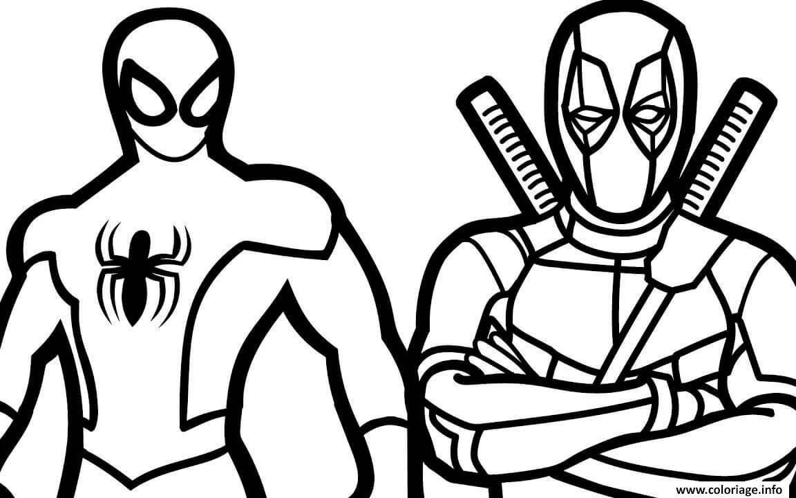 Dessin spiderman et deadpool Coloriage Gratuit à Imprimer