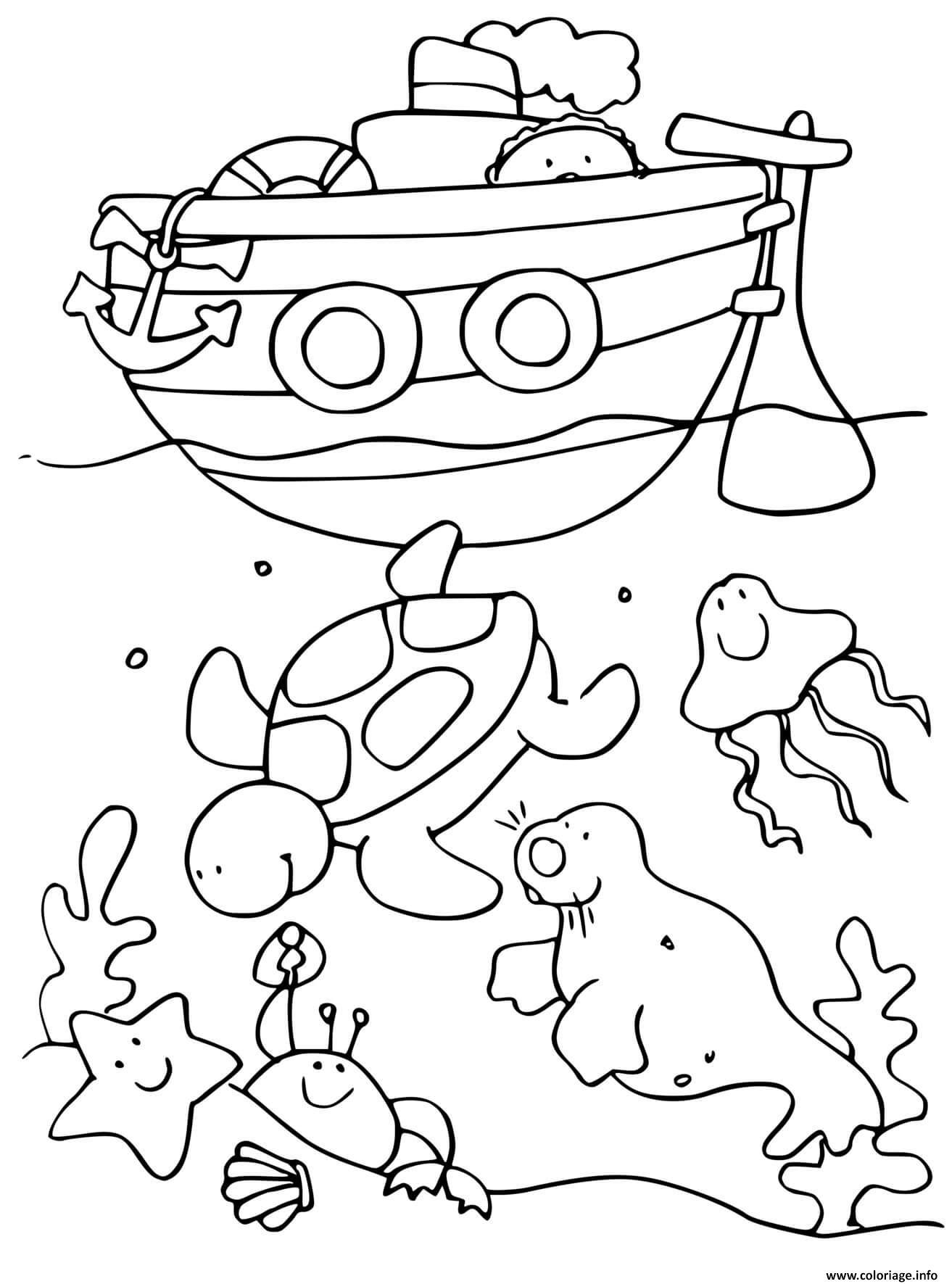 Dessin fond de mer et animaux marins avec bateau de mer Coloriage Gratuit à Imprimer
