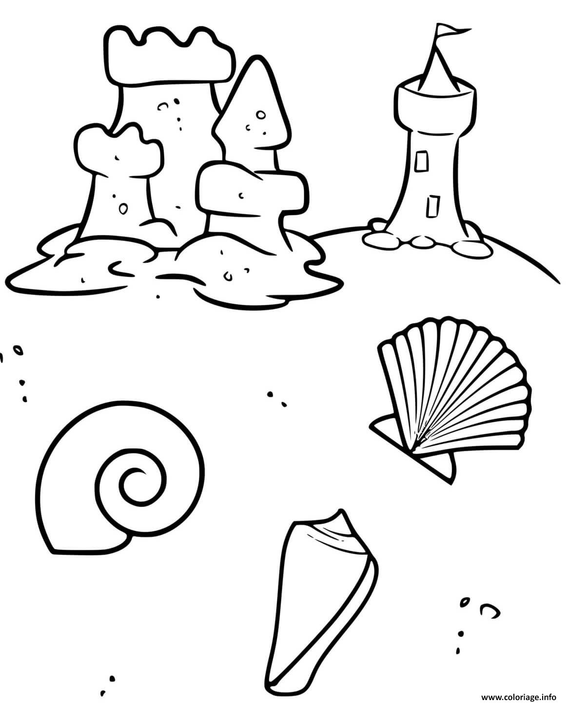Dessin plage coquillage chateau de sable Coloriage Gratuit à Imprimer