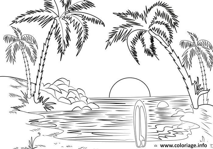 Dessin mer de plage Coloriage Gratuit à Imprimer