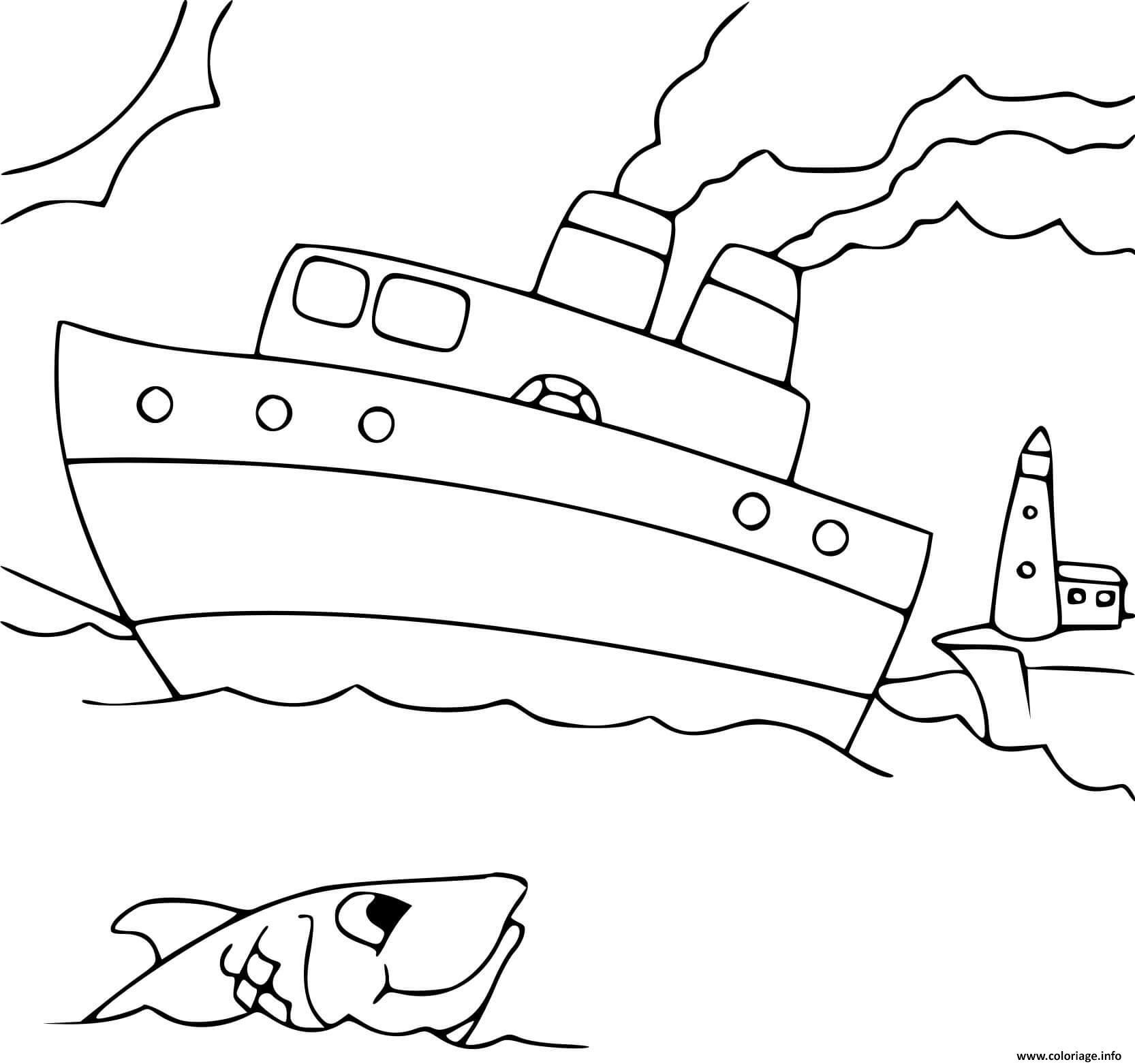 Dessin monde de la mer bateau marin Coloriage Gratuit à Imprimer