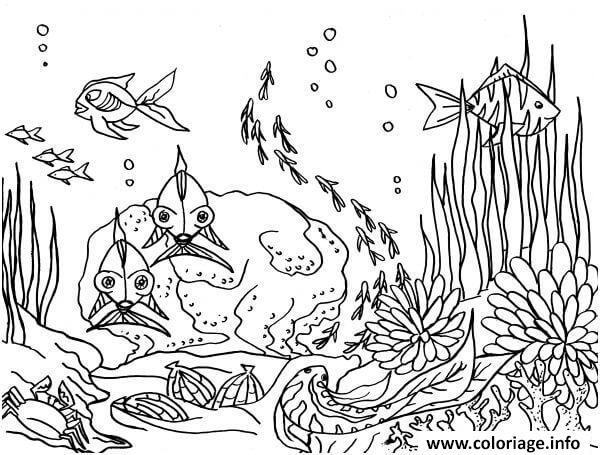 Dessin fond marin Coloriage Gratuit à Imprimer