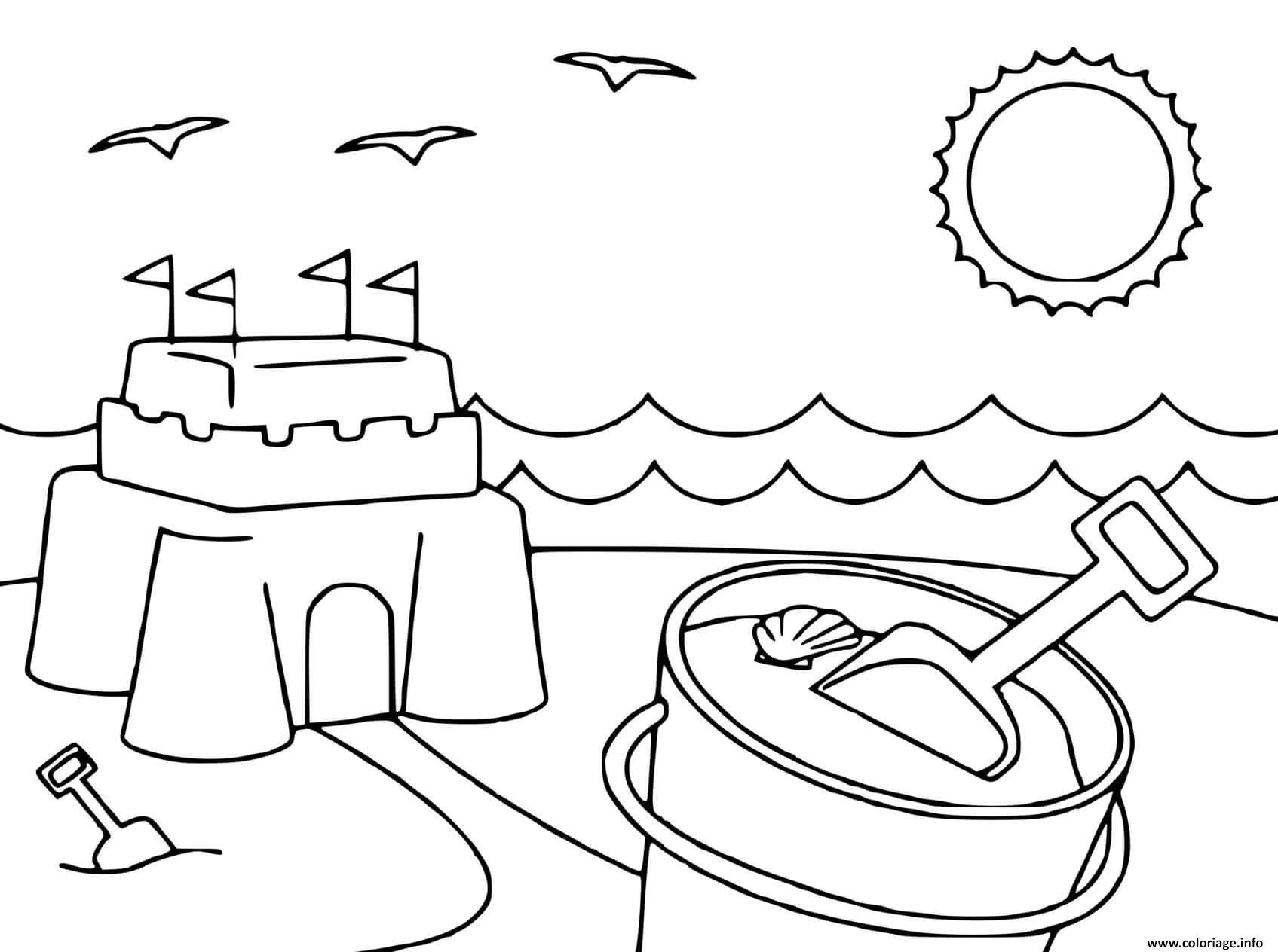 Dessin plage chateau de sable Coloriage Gratuit à Imprimer