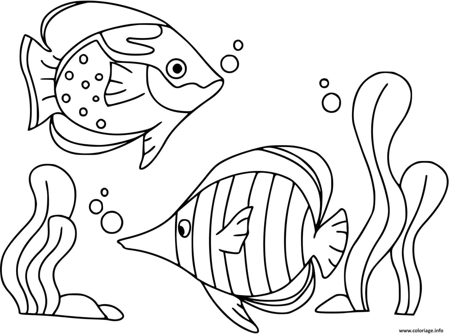 Dessin poisson au fond de la mer Coloriage Gratuit à Imprimer