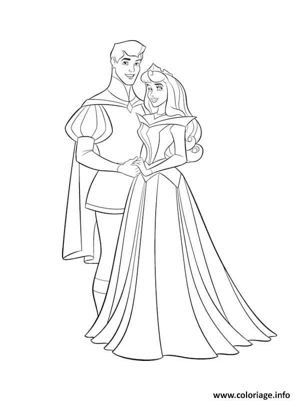 Dessin princesse aurore et son prince charmant Coloriage Gratuit à Imprimer