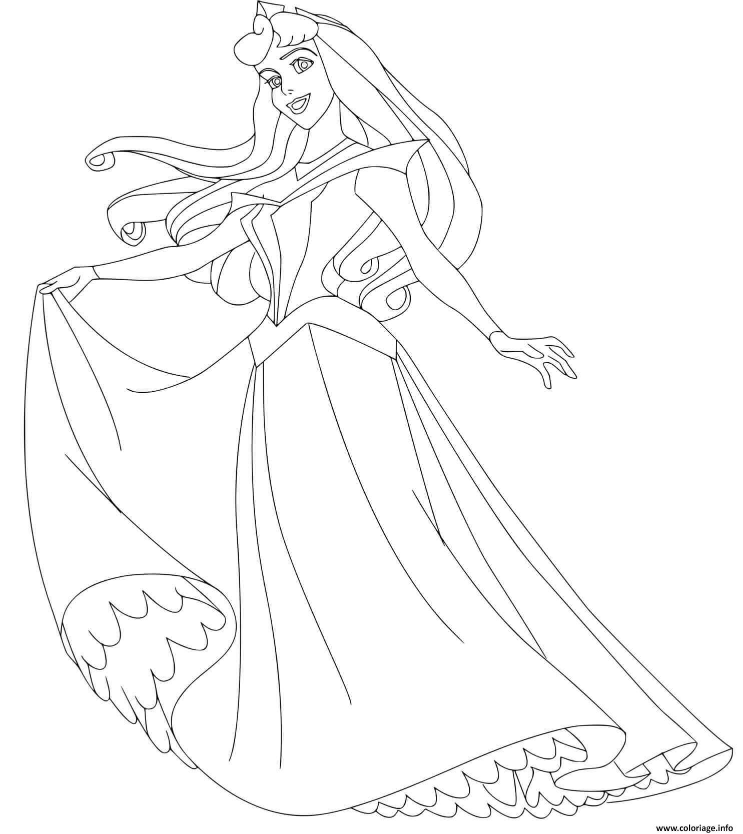 Dessin aurore et sa belle robe de princesse Coloriage Gratuit à Imprimer