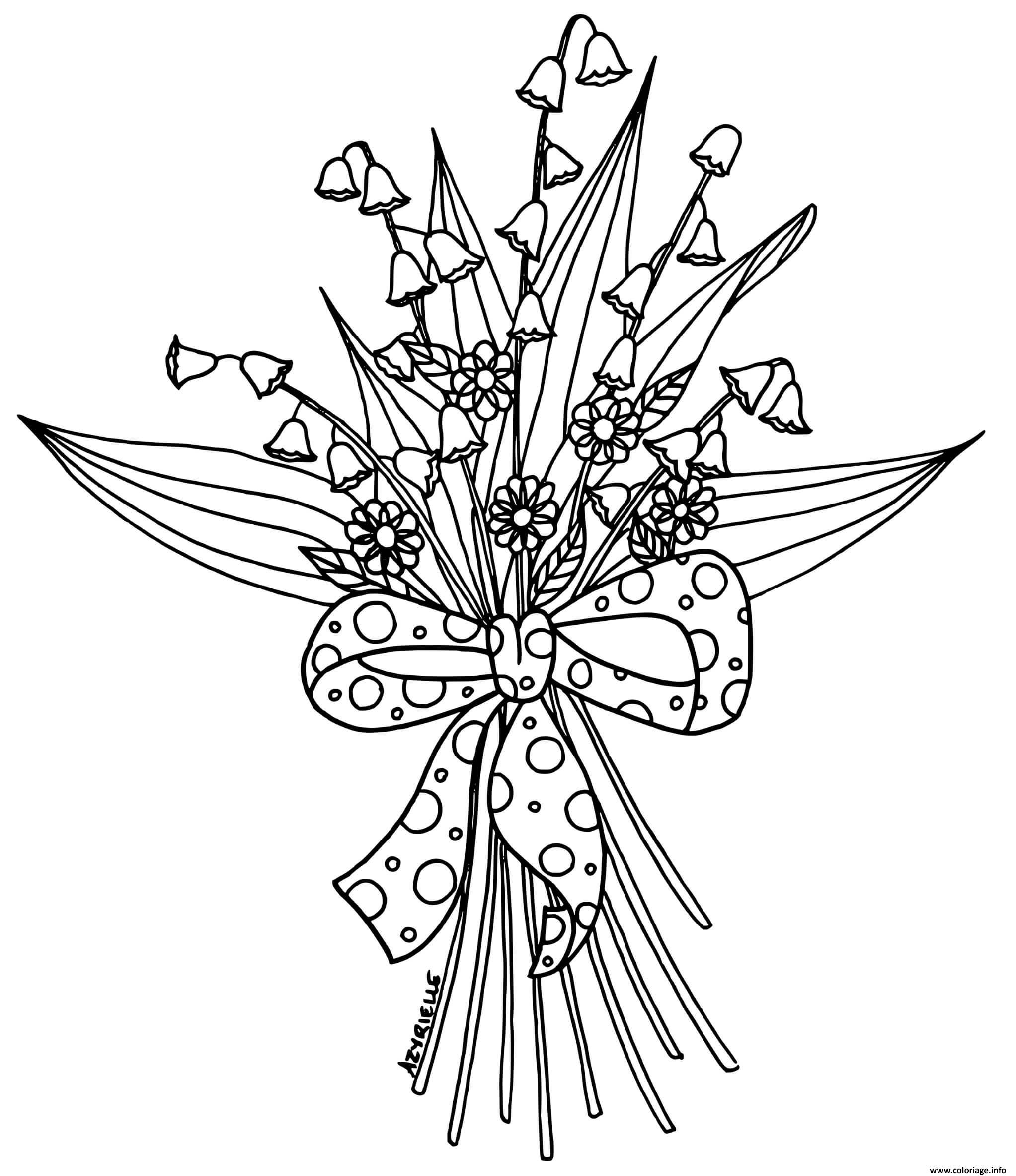 Dessin fleurs de muguet brin 1er mai Coloriage Gratuit à Imprimer