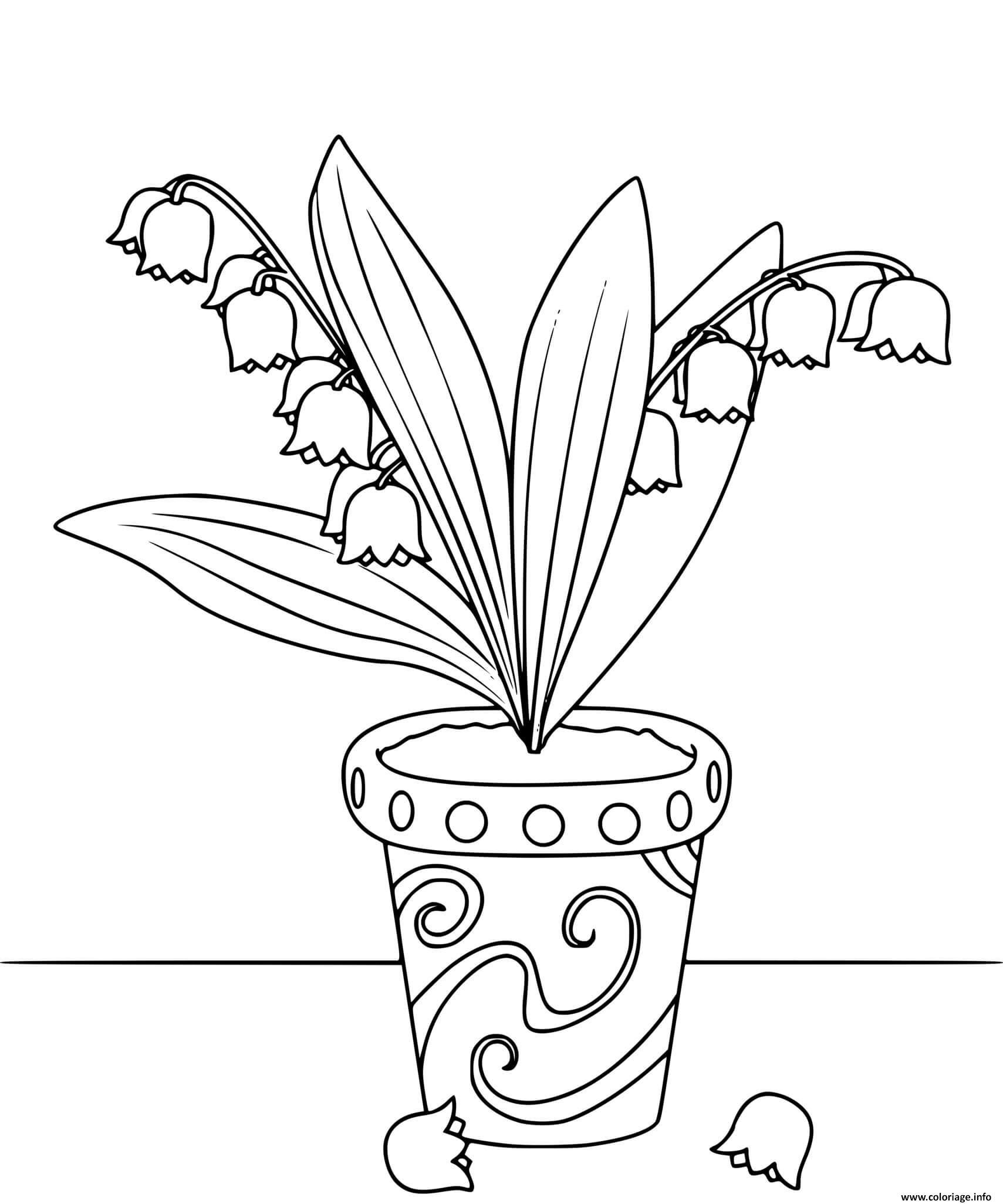 Dessin pot de fleurs de muguet 1er mai Coloriage Gratuit à Imprimer