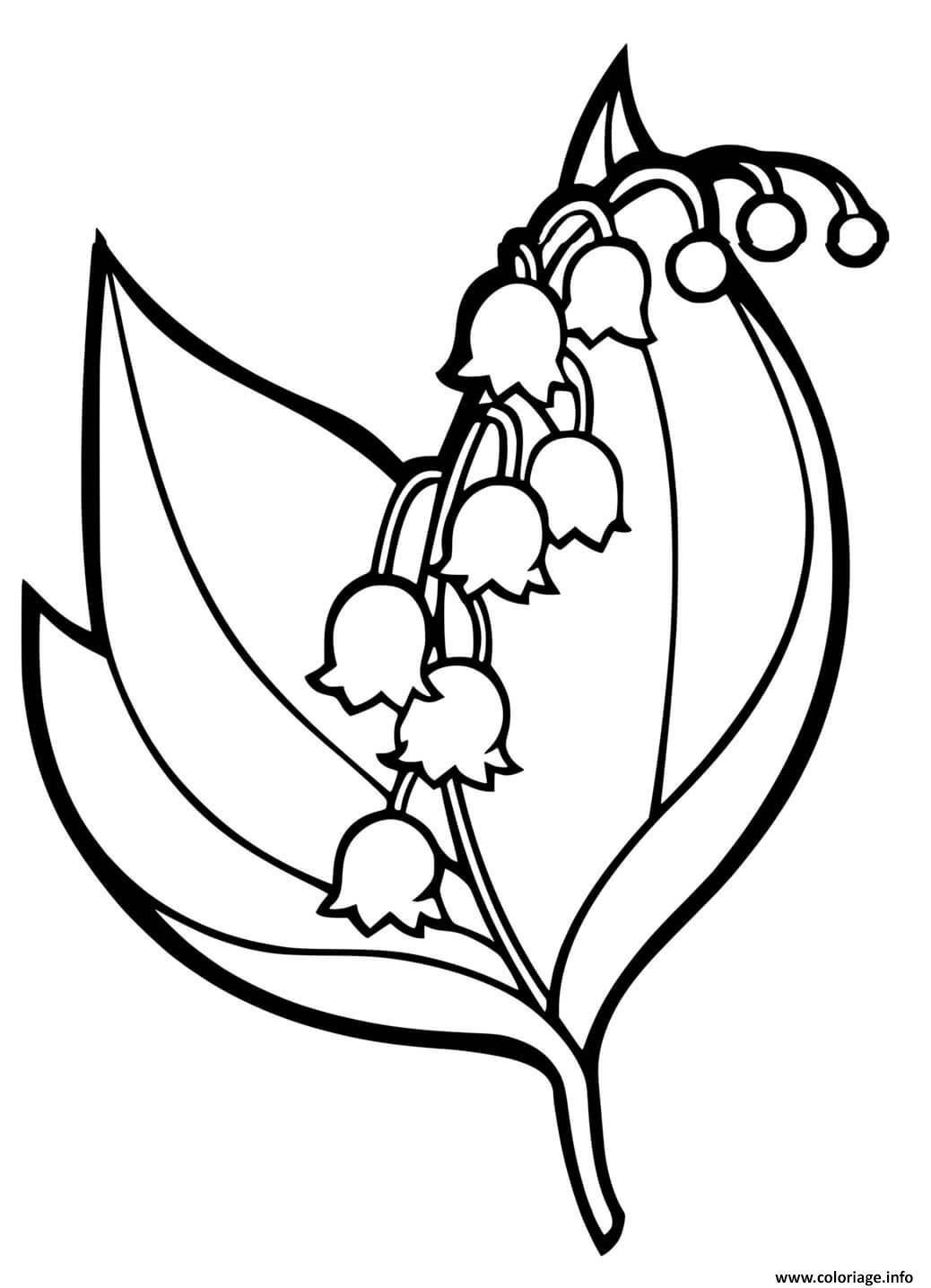 Dessin muguet de main fleur porte bonheur Coloriage Gratuit à Imprimer