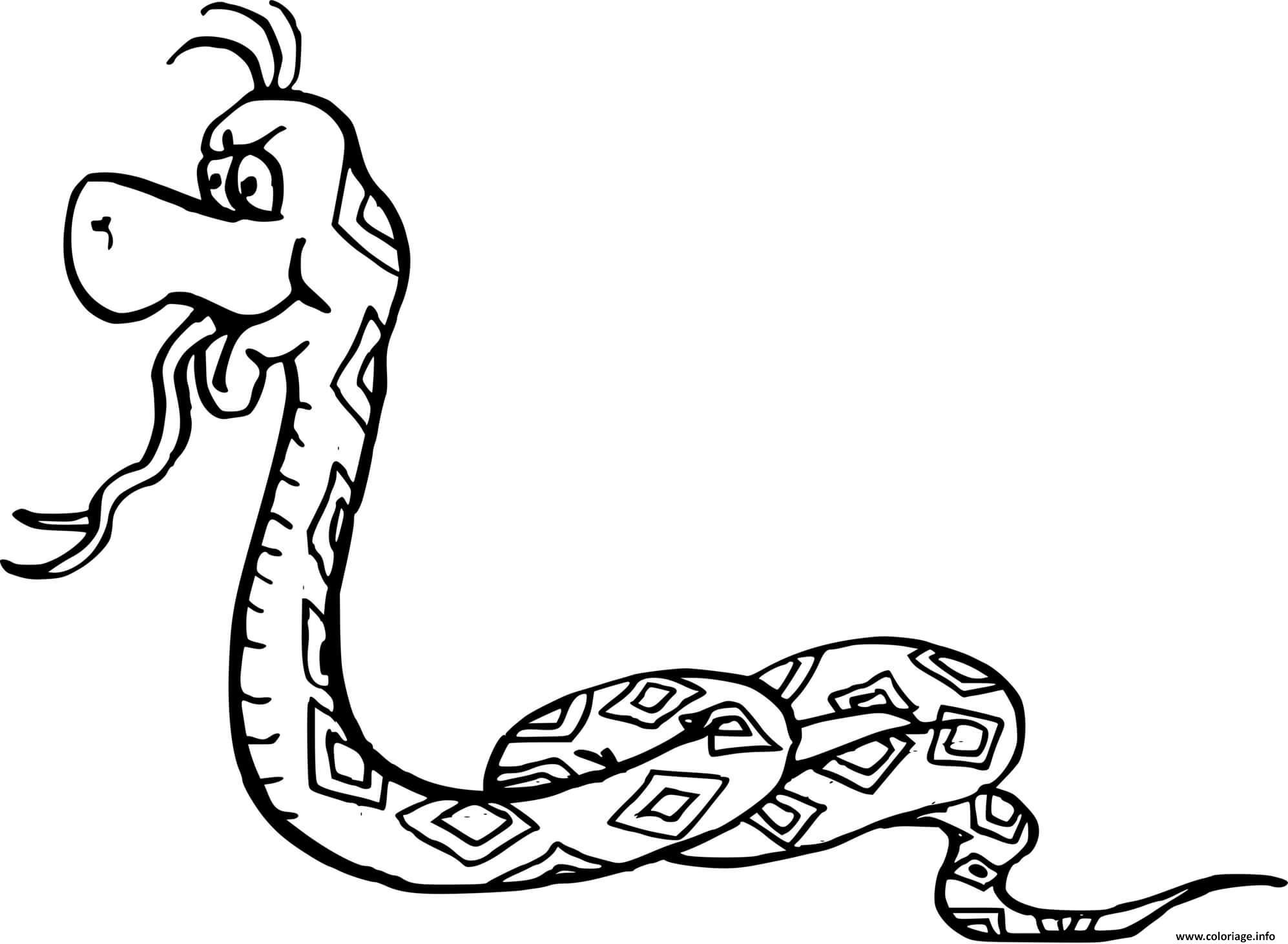Dessin serpent tire la langue Coloriage Gratuit à Imprimer
