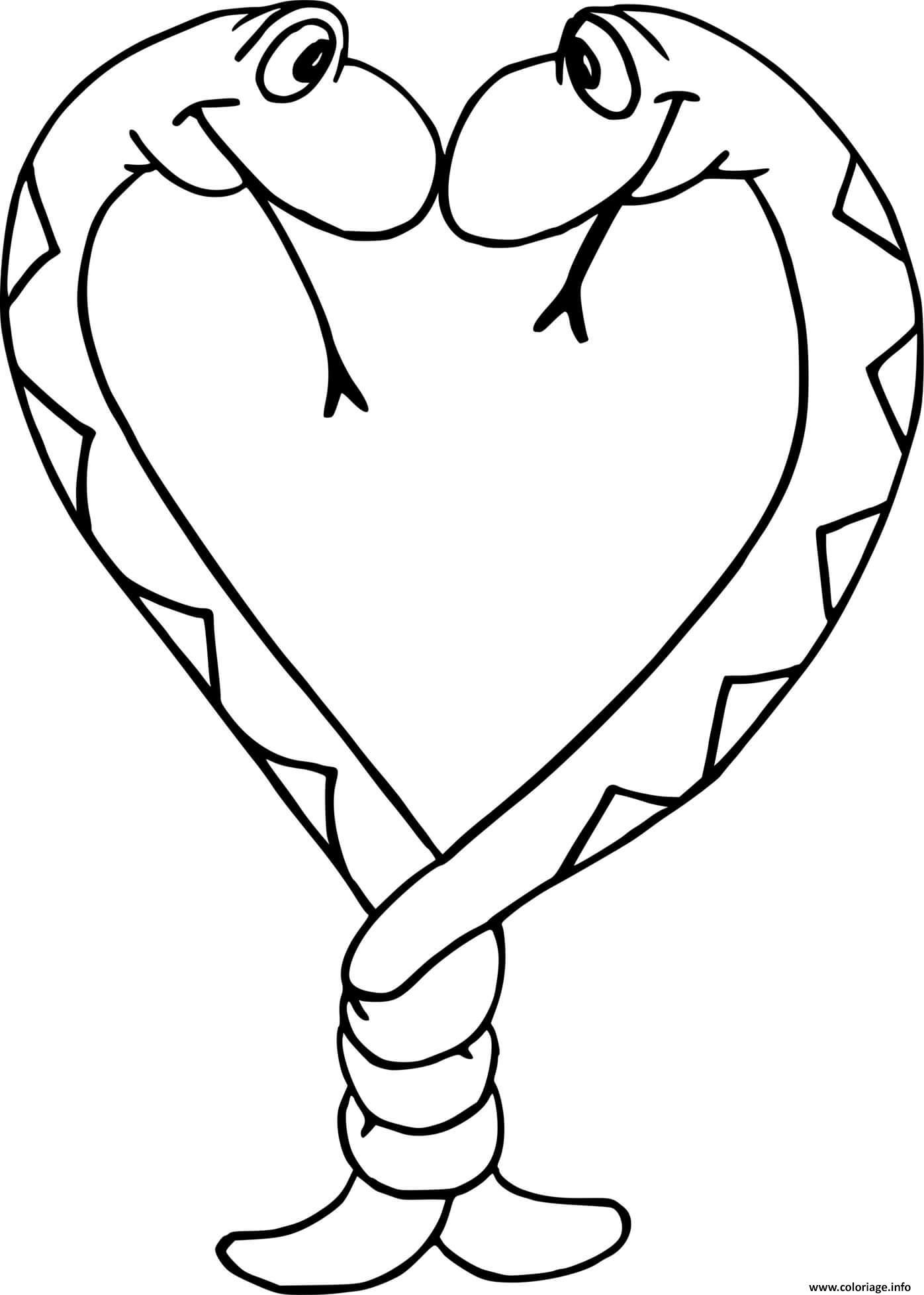 Dessin Deux serpents qui forment un coeur Coloriage Gratuit à Imprimer