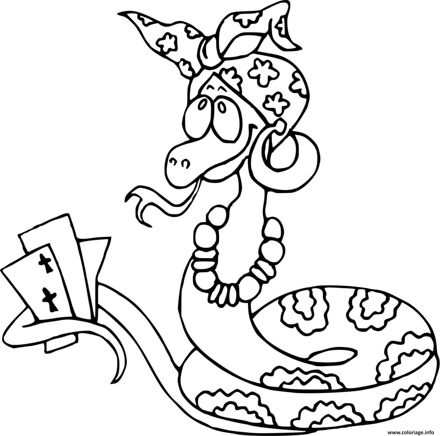 Dessin serpent qui joueax cartes Coloriage Gratuit à Imprimer