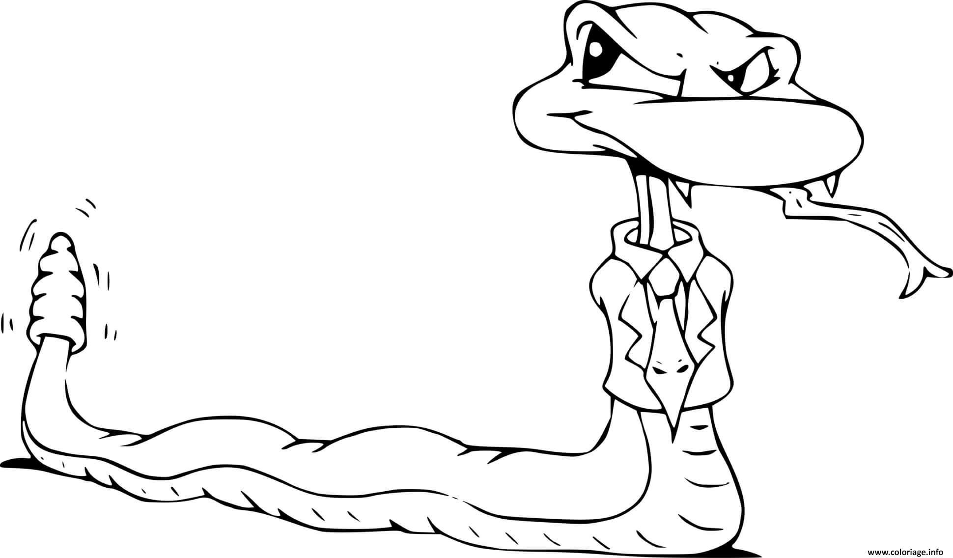 Dessin serpent avec cravate Coloriage Gratuit à Imprimer