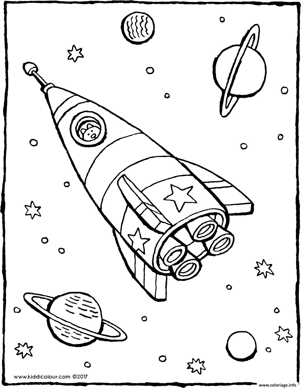 Dessin dessin de fusee dans lespace Coloriage Gratuit à Imprimer