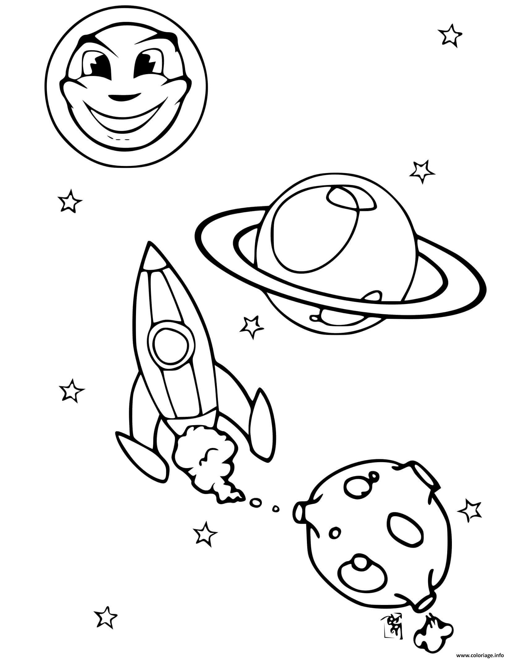 Dessin fusee espace planetes soleil Coloriage Gratuit à Imprimer