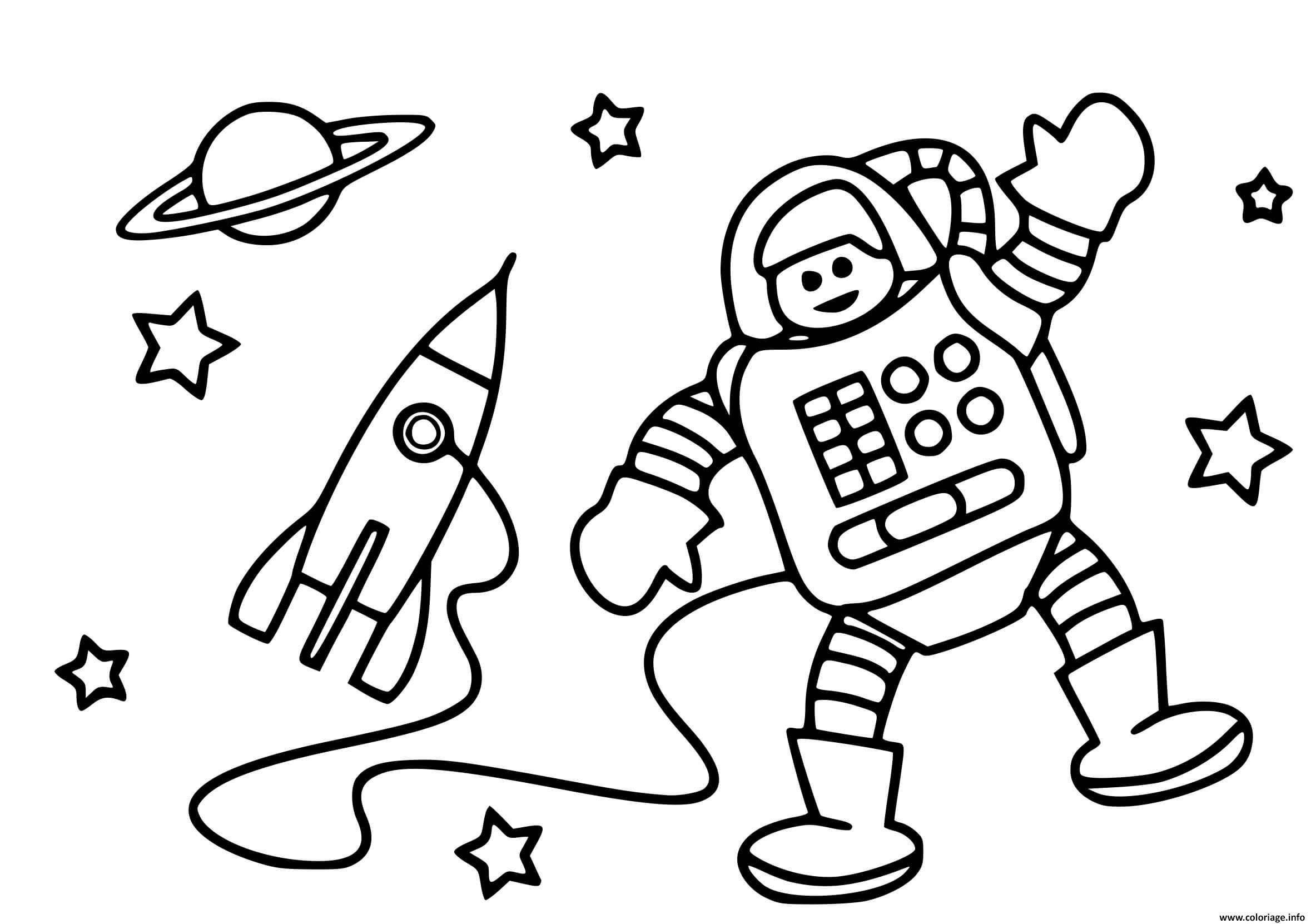 Dessin fusee astronaute espace Coloriage Gratuit à Imprimer