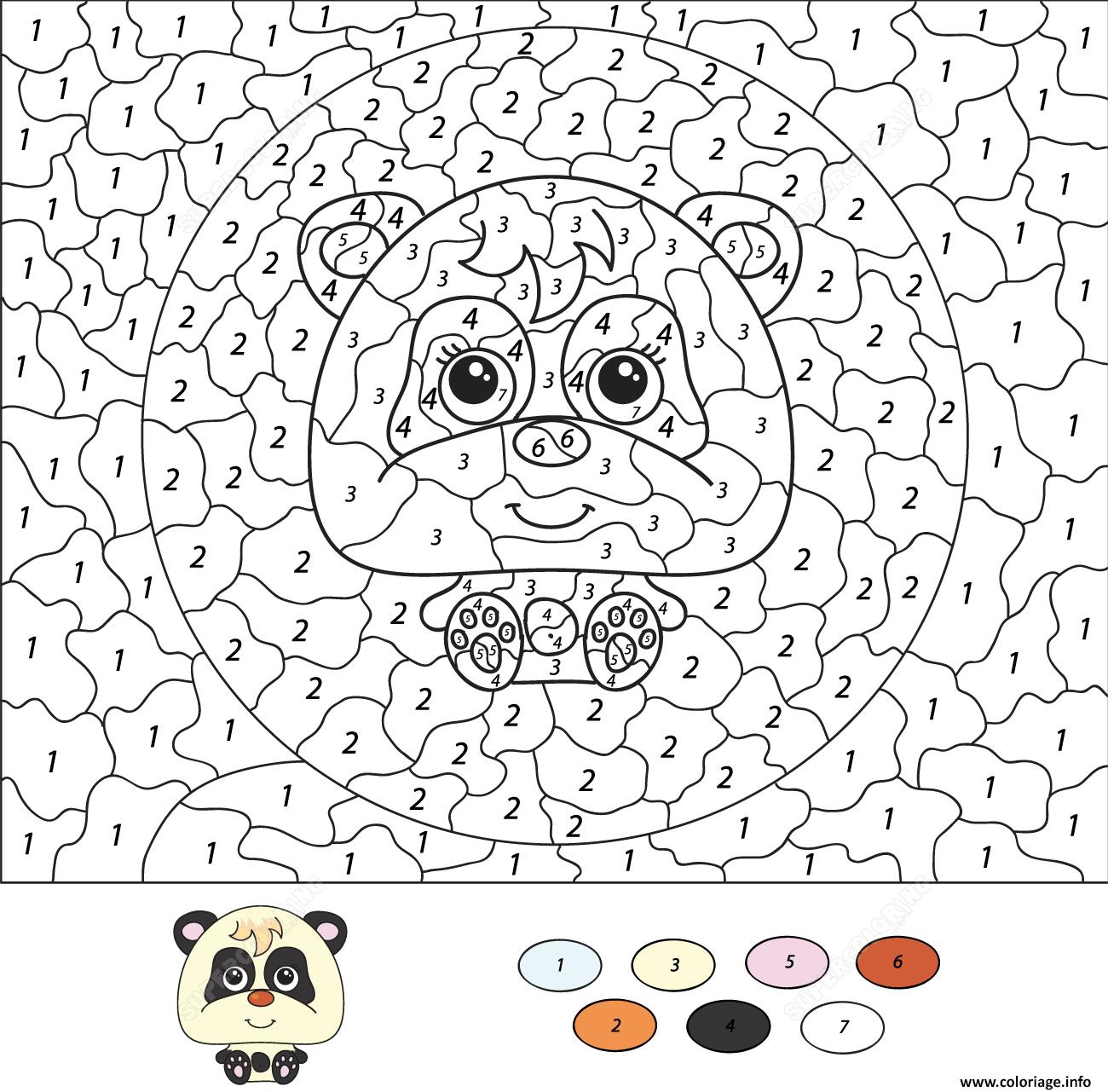 Coloriage Magique CE332 Cartoon Panda Dessin Magique CE332 à imprimer