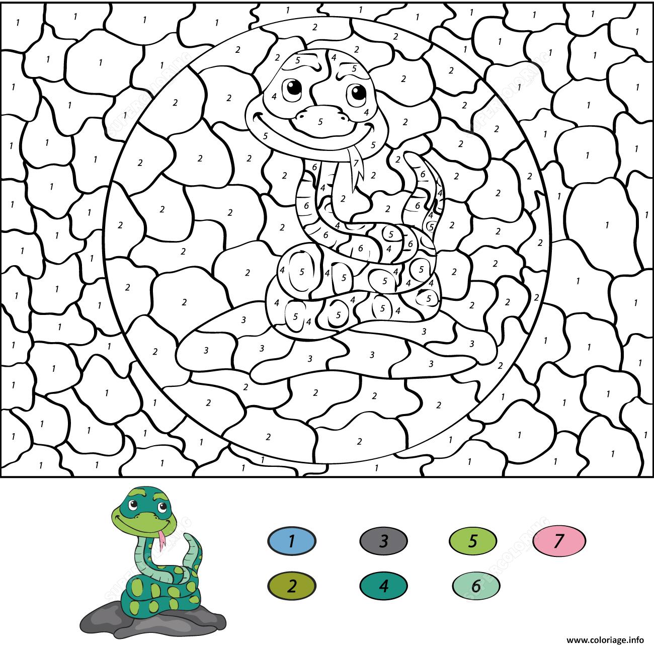 Coloriage Magique CE332 Serpent Dessin Magique CE332 à imprimer