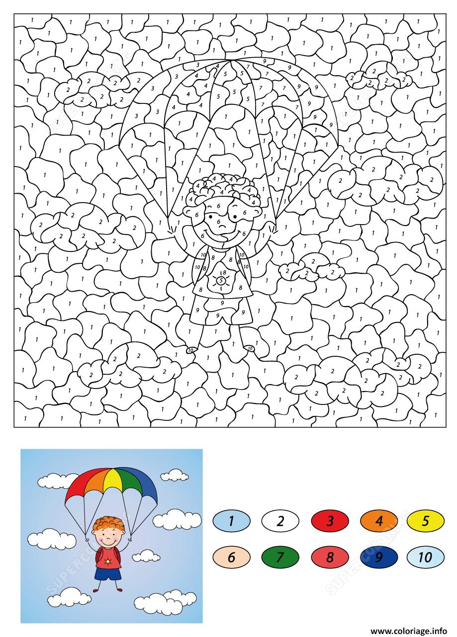 Coloriage magique CE32 garcon descends on a parachute   JeColorie.com