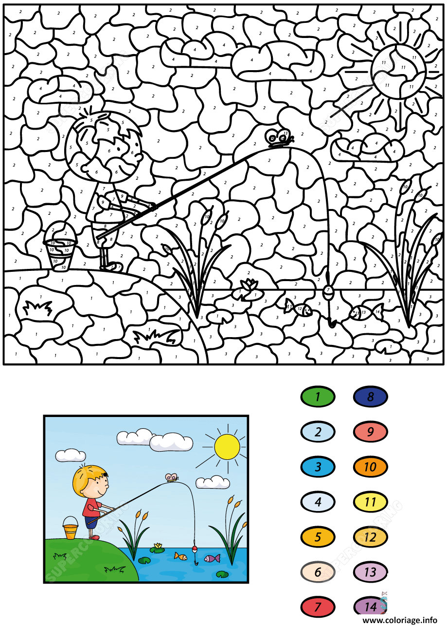 Coloriage magique CE32 garcon fisherman with fishing rod on the ...