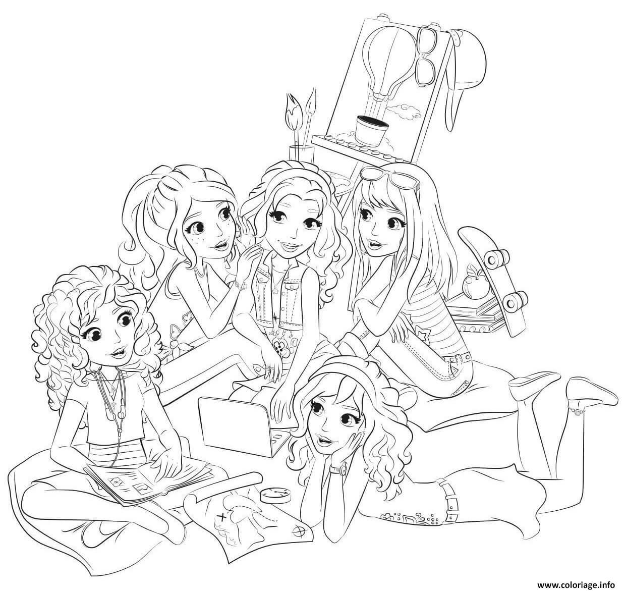 Dessin lego friends soiree entre filles Coloriage Gratuit à Imprimer