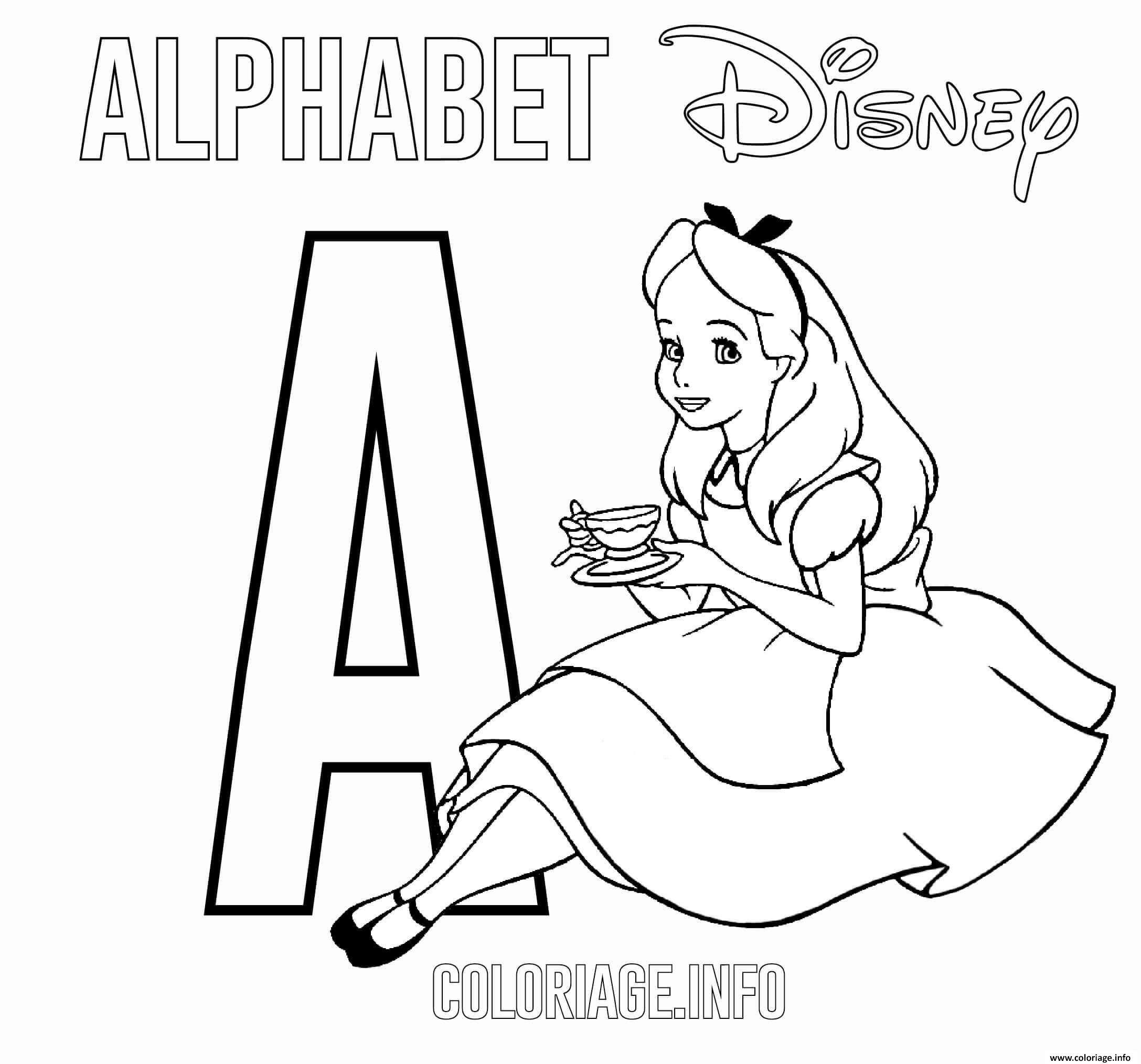Dessin Lettre A pour Alice Coloriage Gratuit à Imprimer
