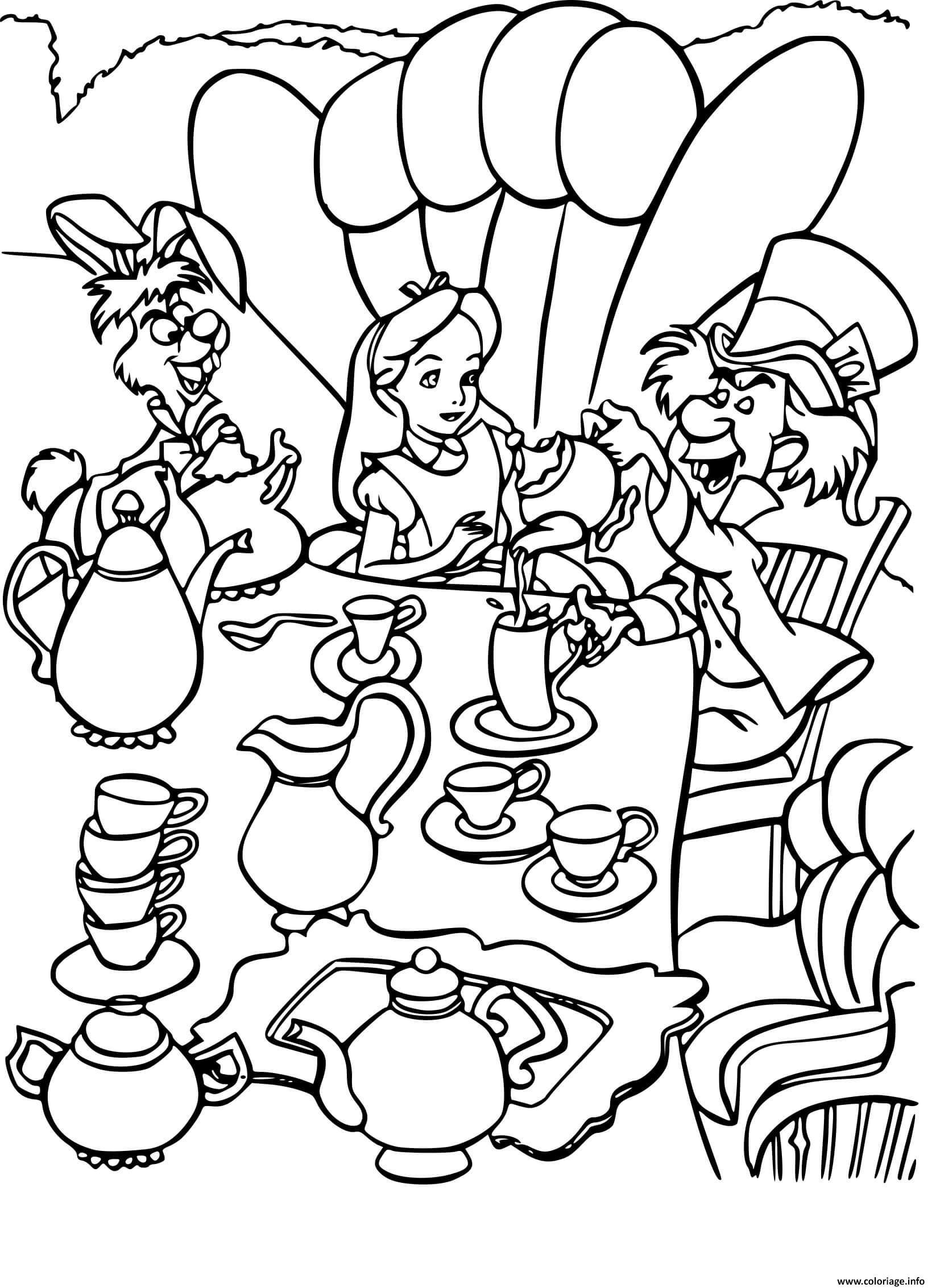 Dessin alice boit un chocolat chaud avec le chapelier fou Coloriage Gratuit à Imprimer