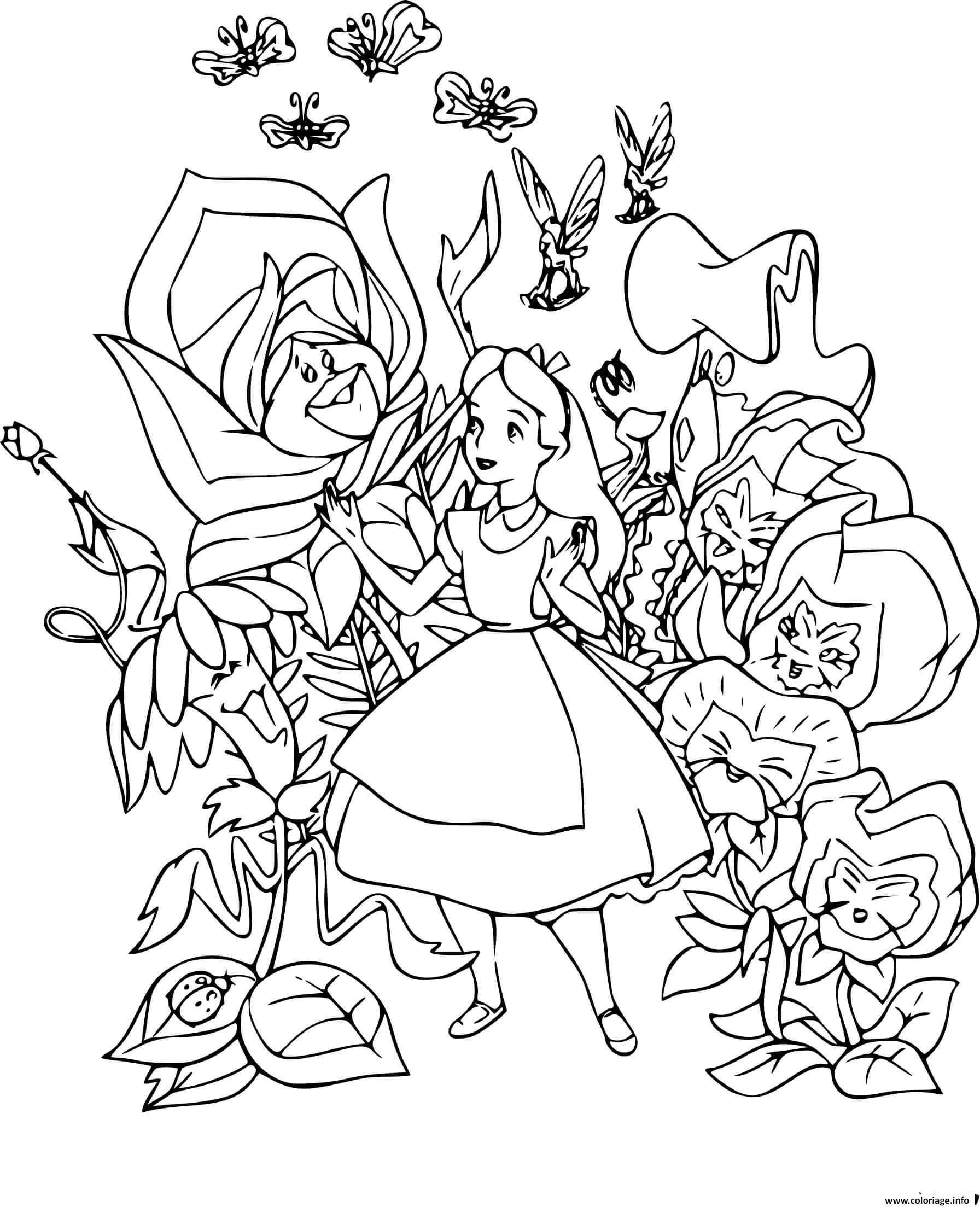 Dessin alice rencontre des fleurs qui savent parler Coloriage Gratuit à Imprimer