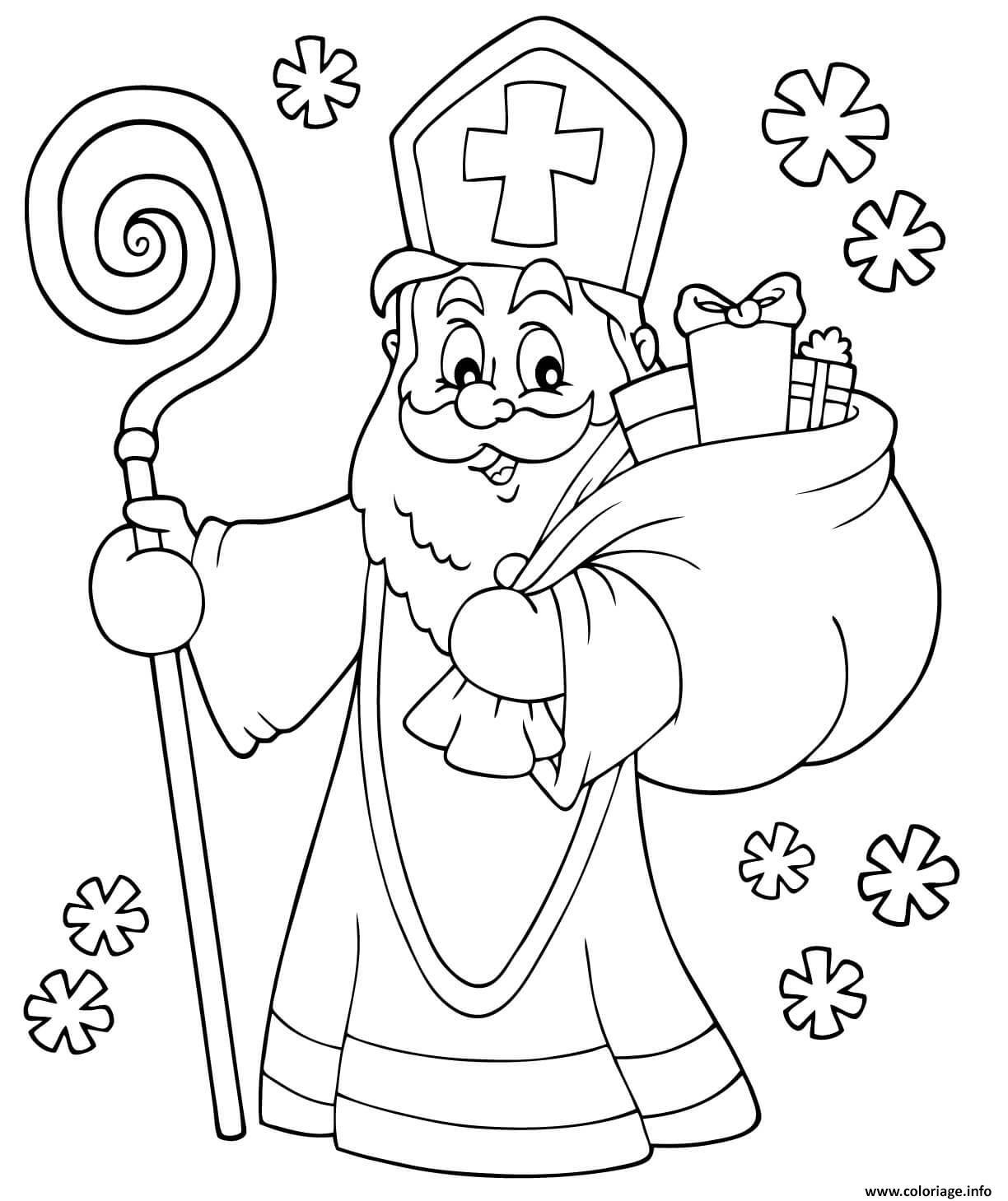 Dessin saint nicolas 5 decembre 6 decembre 19 decembre fete Coloriage Gratuit à Imprimer