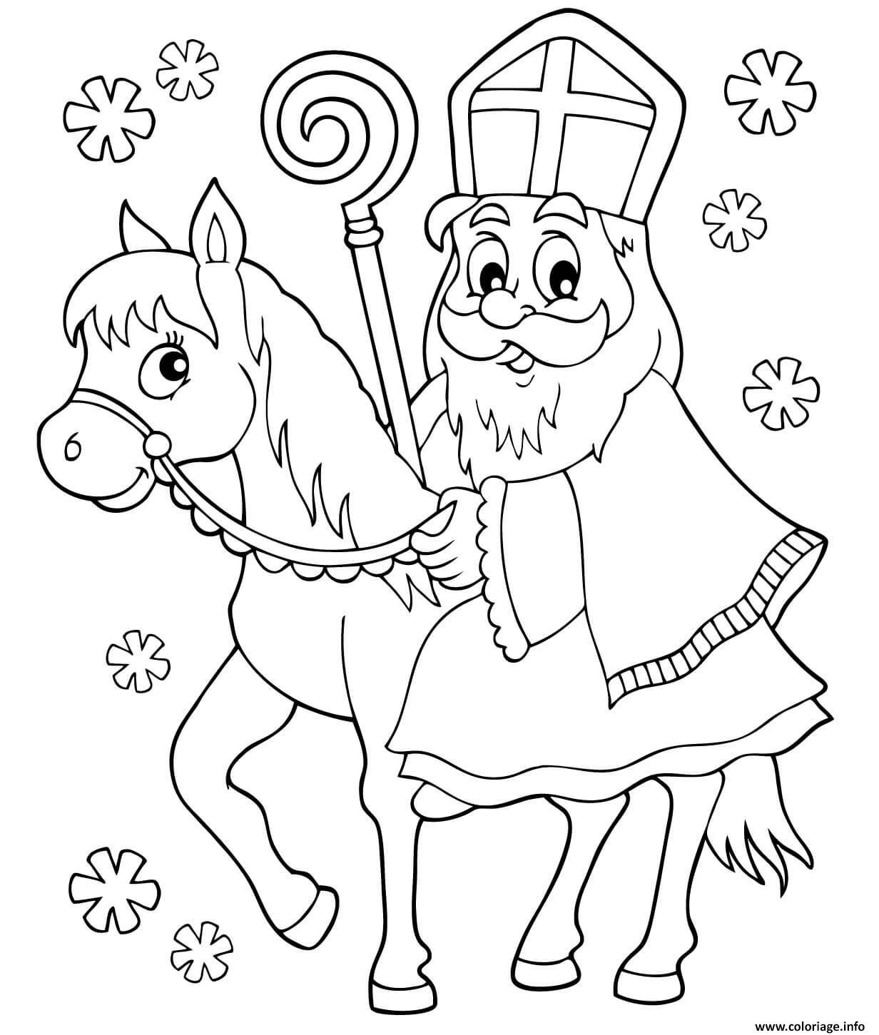 Dessin saint nicolas noel sur un le dos cheval Coloriage Gratuit à Imprimer