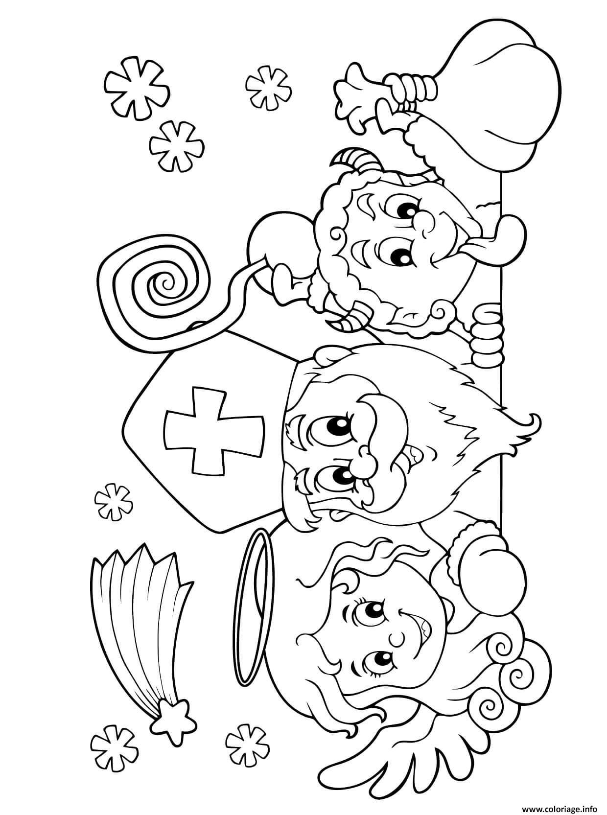 Dessin saint nicolas pere noel Coloriage Gratuit à Imprimer