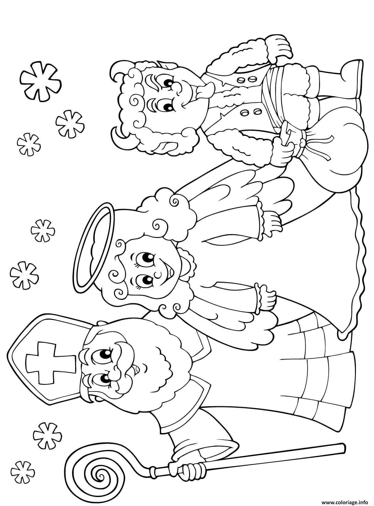 Dessin enfants noel saint nicolas avec un ange et un diable Coloriage Gratuit à Imprimer