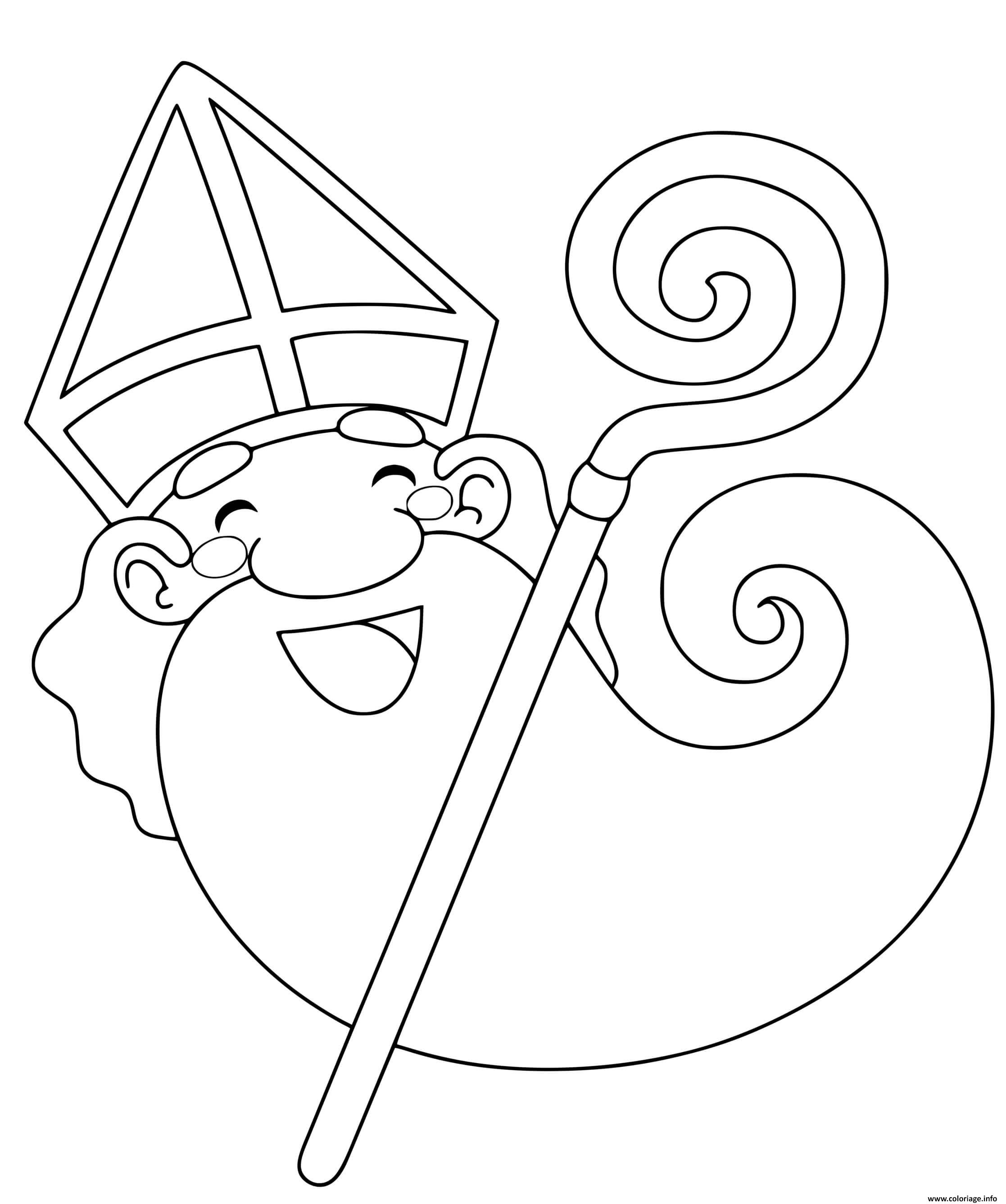 Dessin le saint nicolas heureux pour noel Coloriage Gratuit à Imprimer