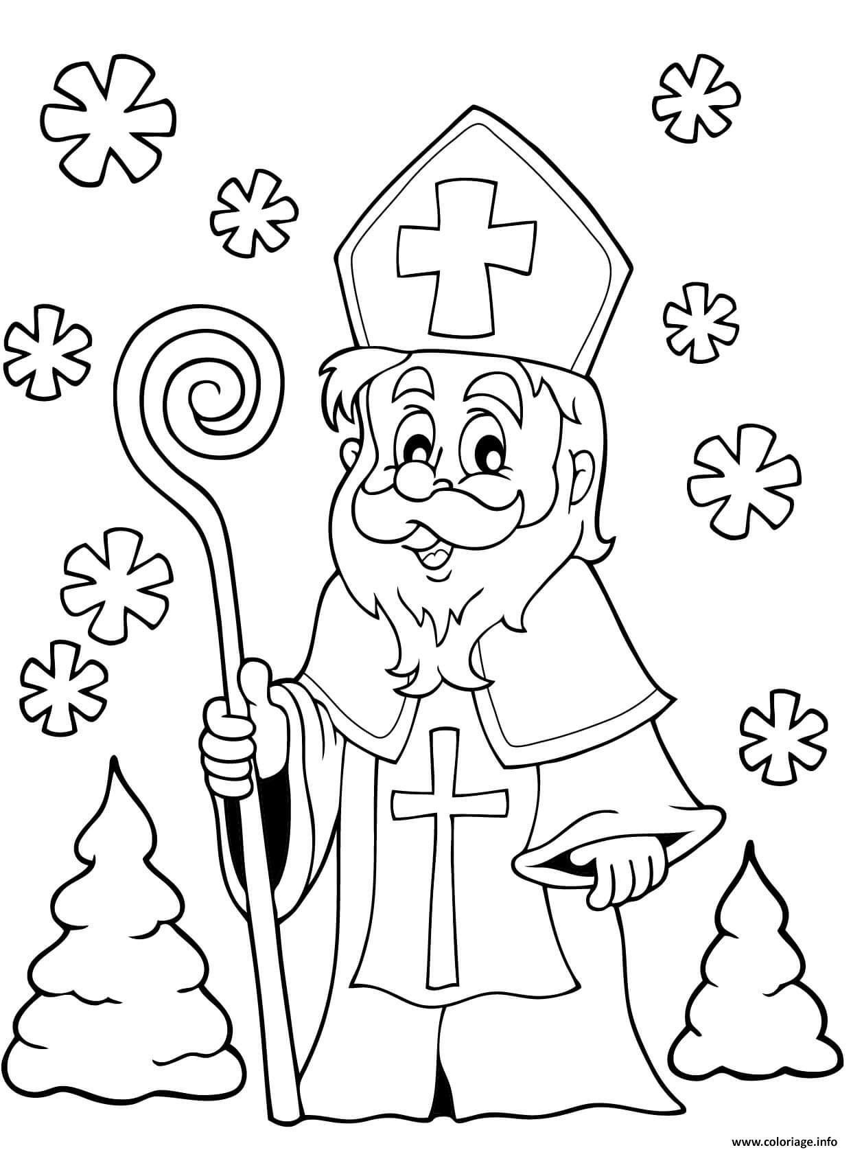 Dessin saint nicolas tradition noel Coloriage Gratuit à Imprimer