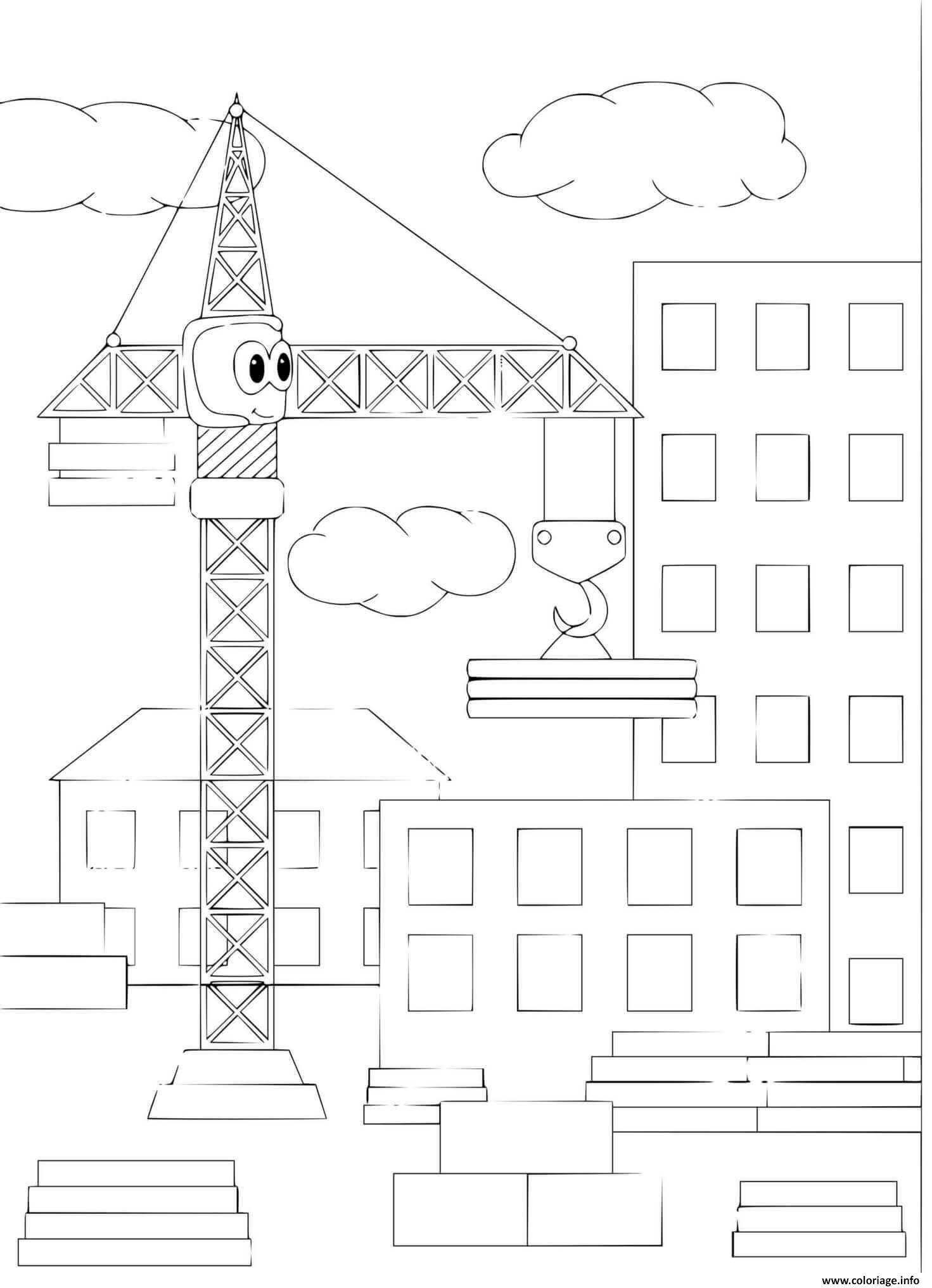 Dessin grue de chantier construction tour batiment maison Coloriage Gratuit à Imprimer