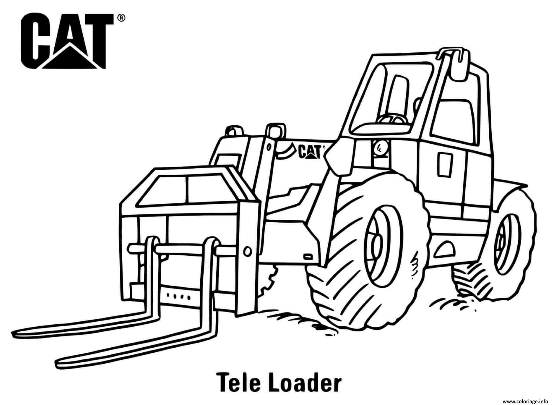 Dessin tele loader truck engin de chantier Coloriage Gratuit à Imprimer