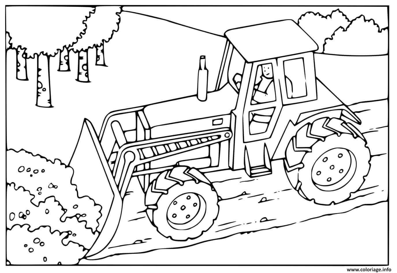 Dessin camion de construction chantier Coloriage Gratuit à Imprimer