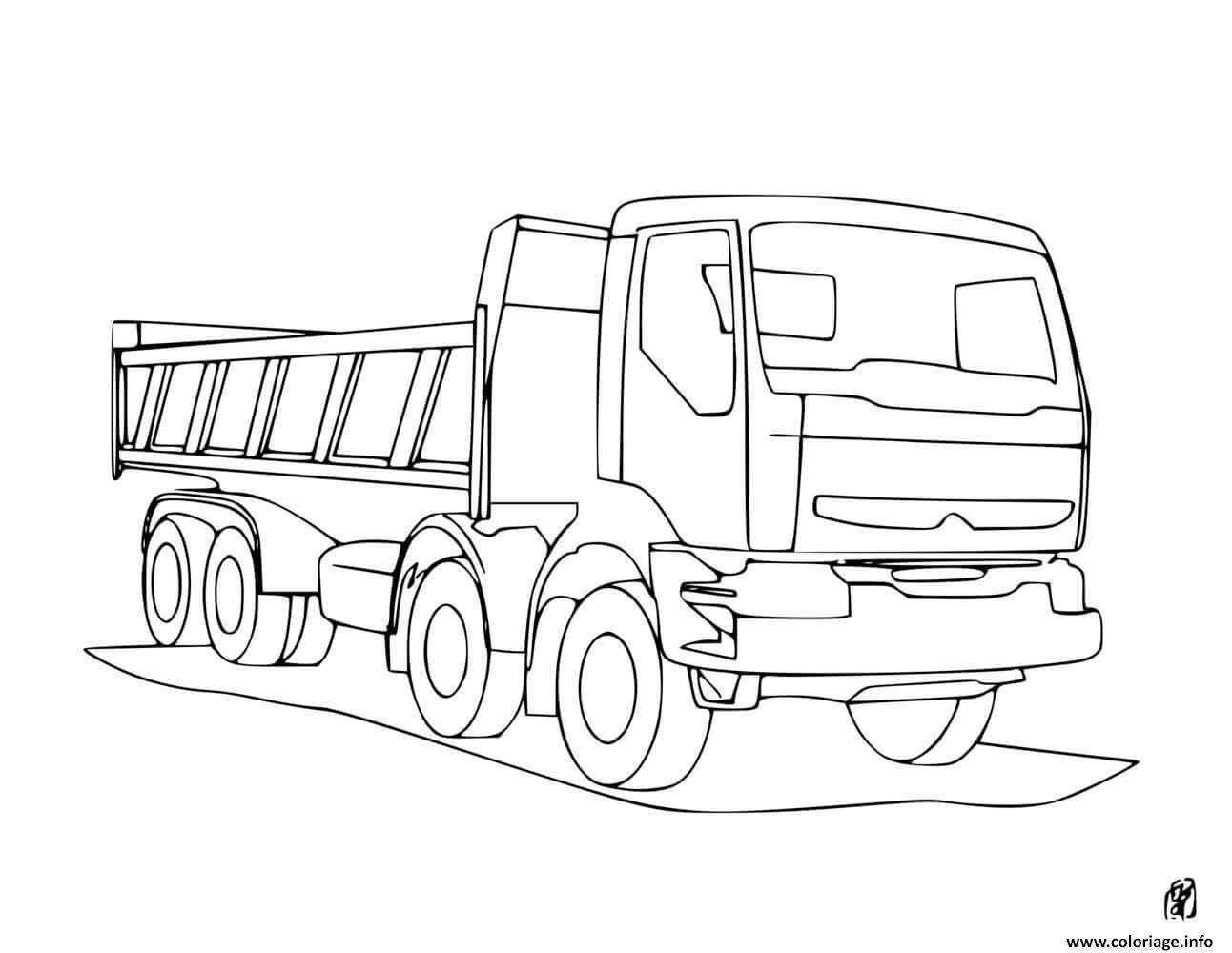 Dessin camion volvo de chantier Coloriage Gratuit à Imprimer