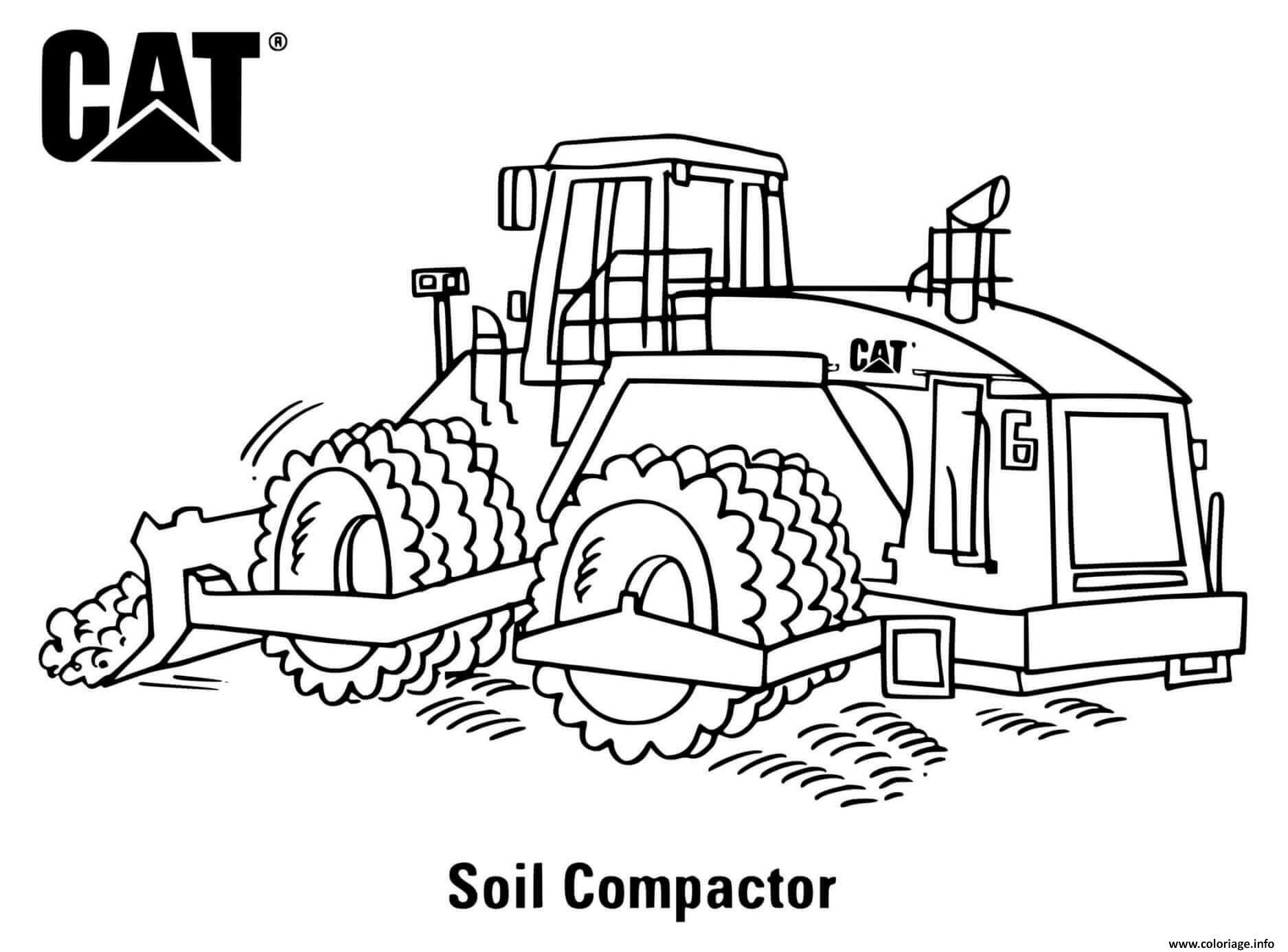 Dessin soil compactor engin de chantier compacteur Coloriage Gratuit à Imprimer