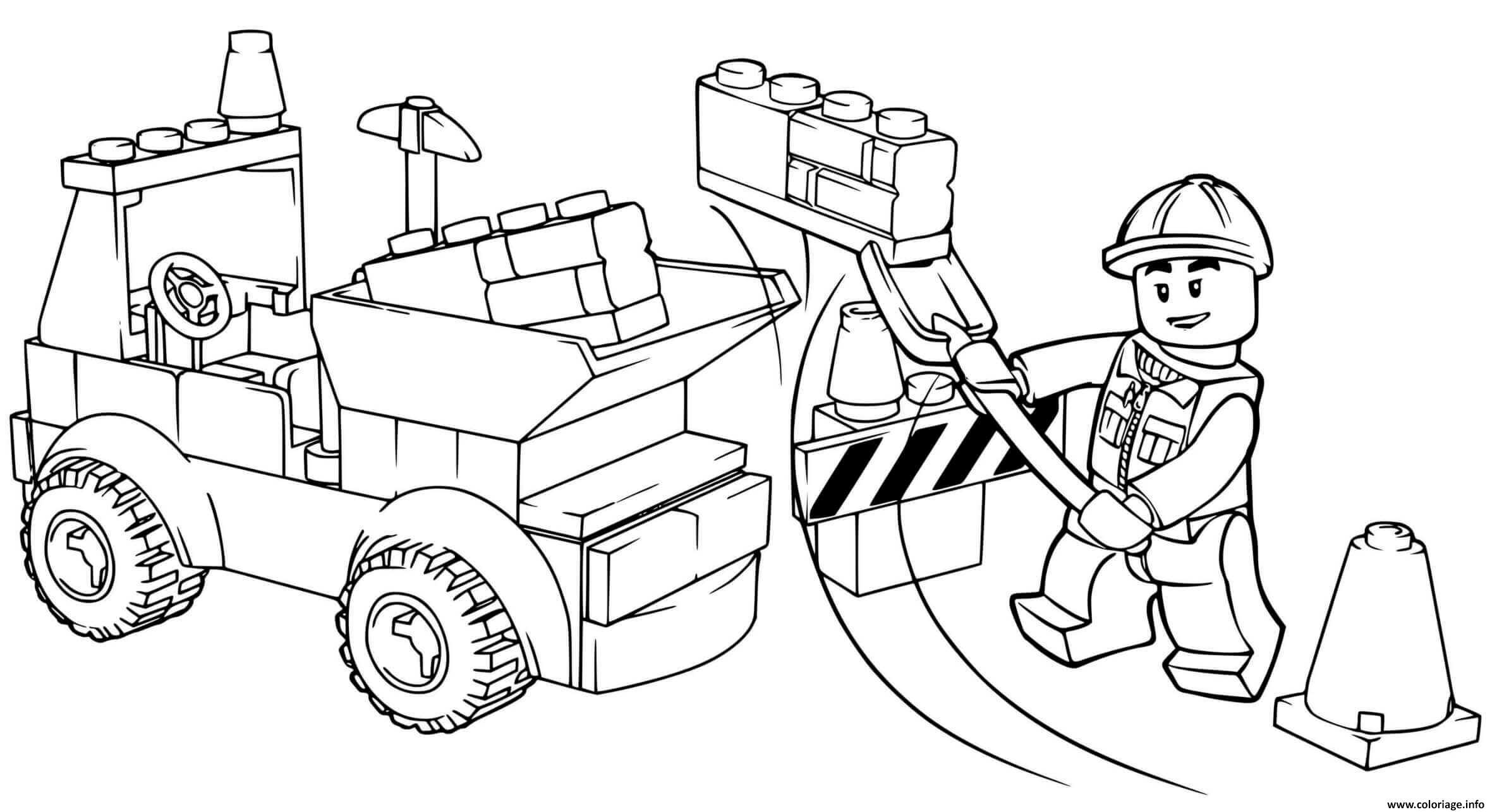 Dessin chantier construction lego junior dump truck Coloriage Gratuit à Imprimer