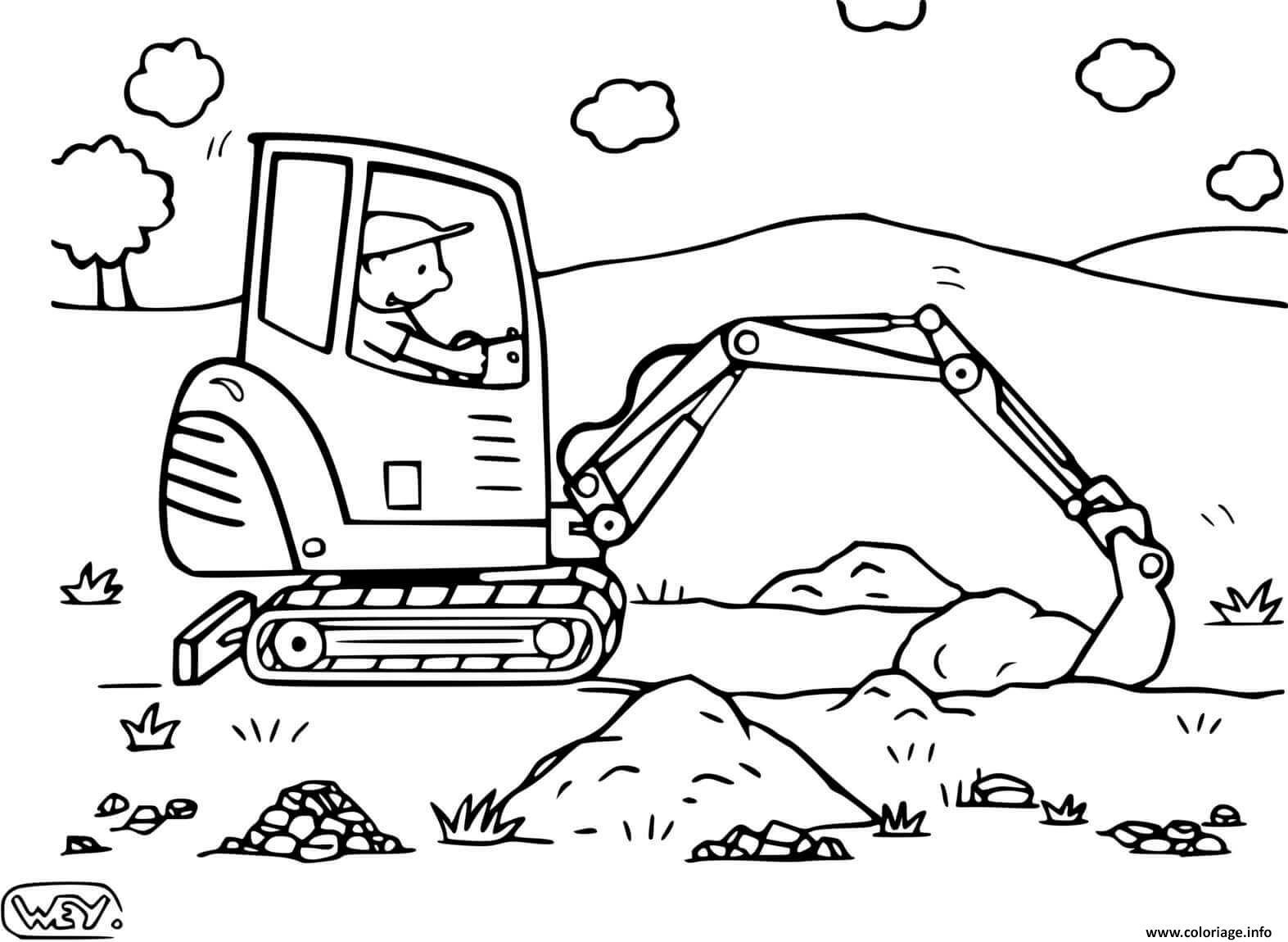 Dessin chantier engin entrepreneur retrait de la terre Coloriage Gratuit à Imprimer