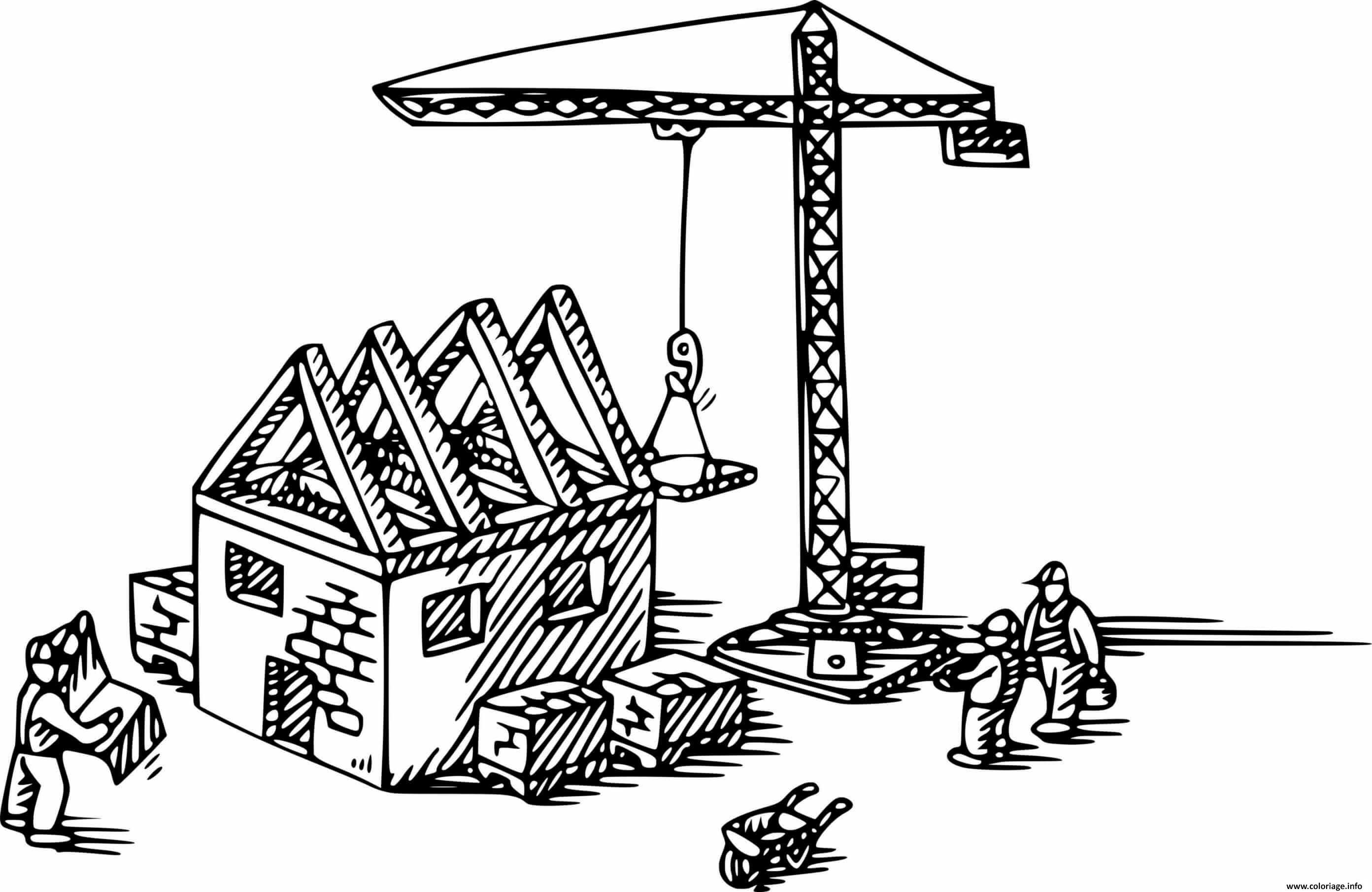 Dessin grue chantier de construction maison Coloriage Gratuit à Imprimer