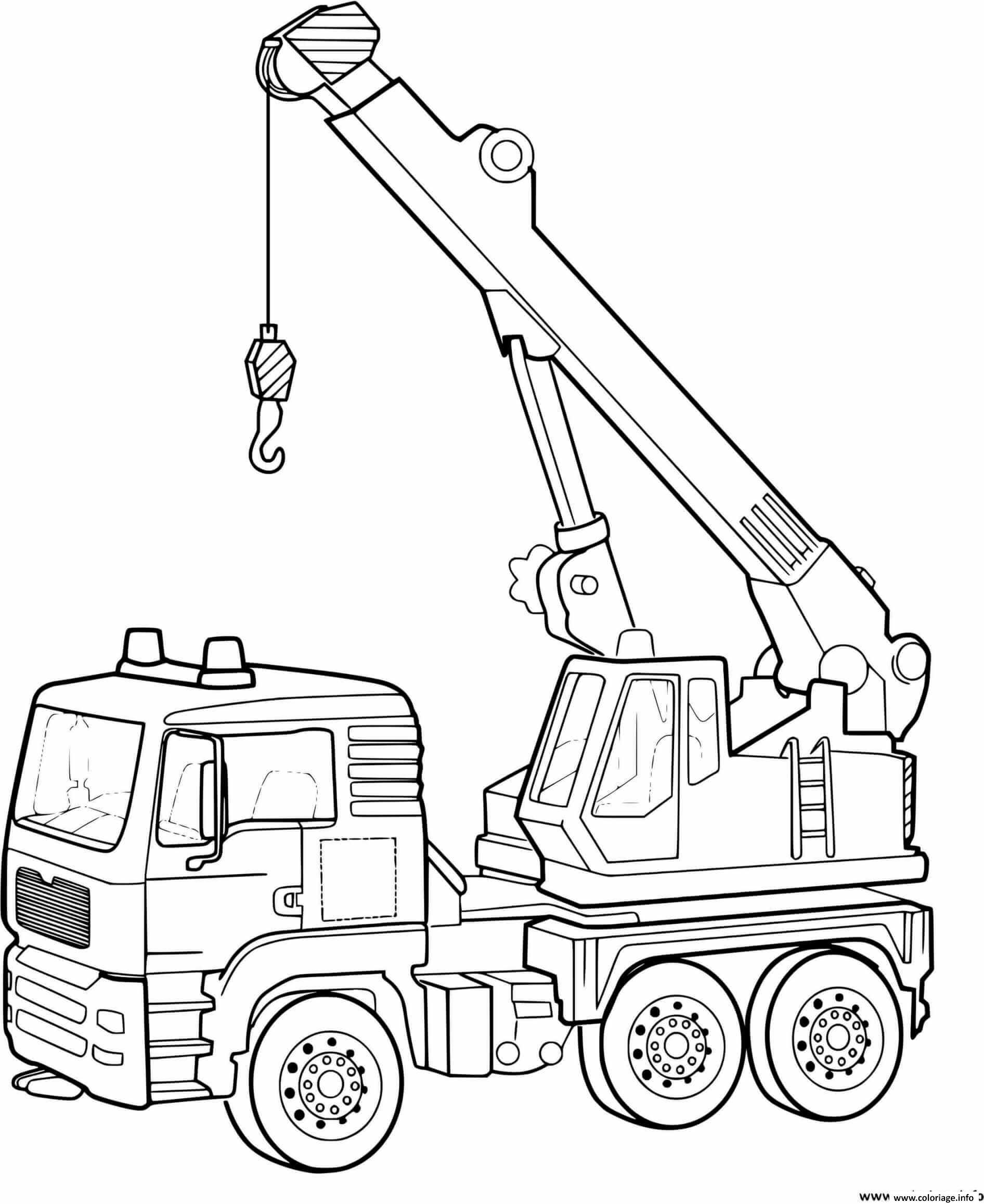 Dessin camion grue construction chantier Coloriage Gratuit à Imprimer