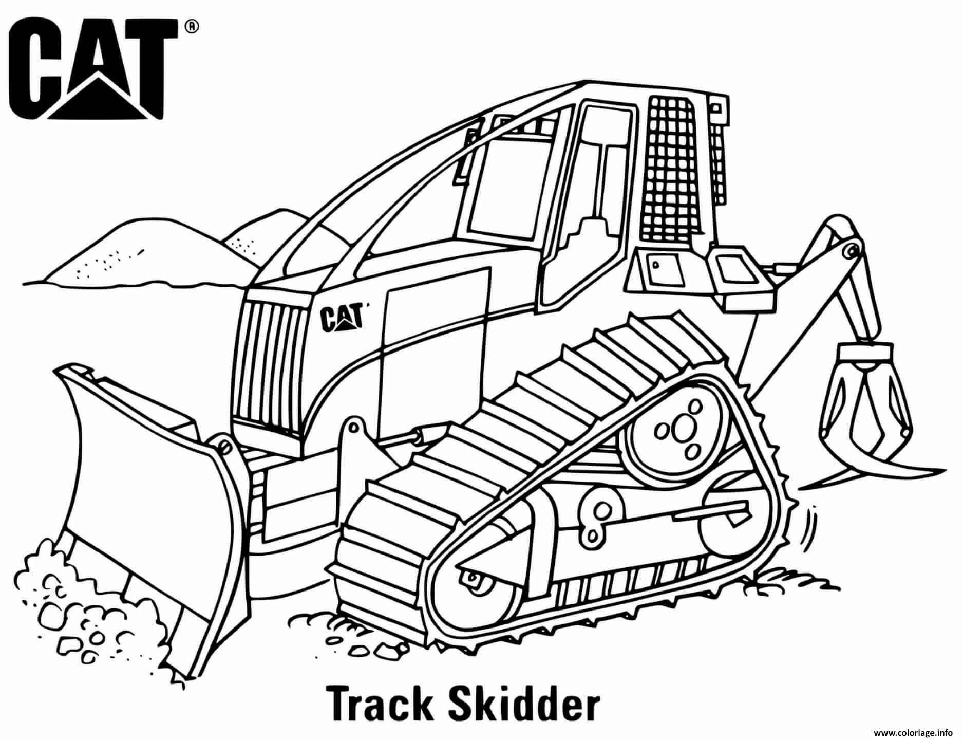 Dessin track skidder engin chantier Coloriage Gratuit à Imprimer