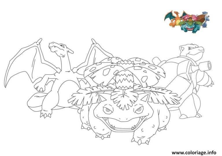 Dessin pokemon florizarre dracaufeu tortank Coloriage Gratuit à Imprimer