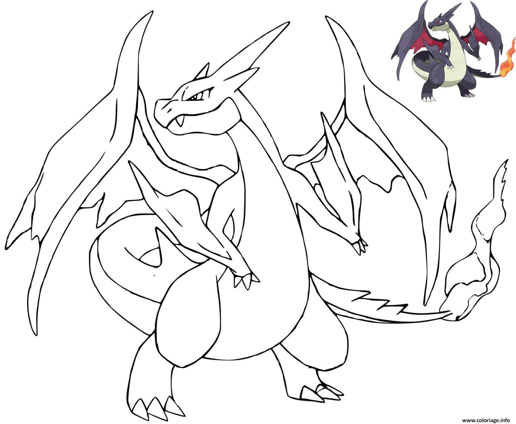 Dessin dracaufeu pokemon mauve avec dessin modele Coloriage Gratuit à Imprimer