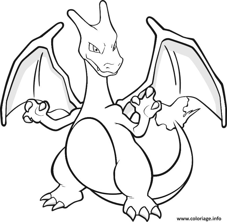 Dessin dracaufeu charizard pokemon rouge feu Coloriage Gratuit à Imprimer
