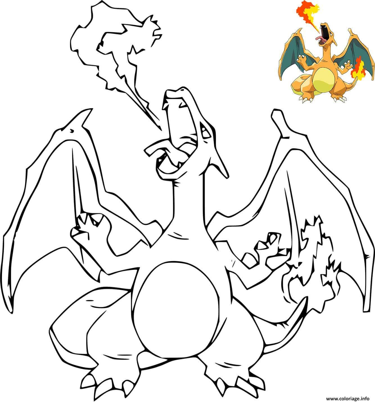 Dessin dracaufeu ex pokemon avec dessin modele Coloriage Gratuit à Imprimer