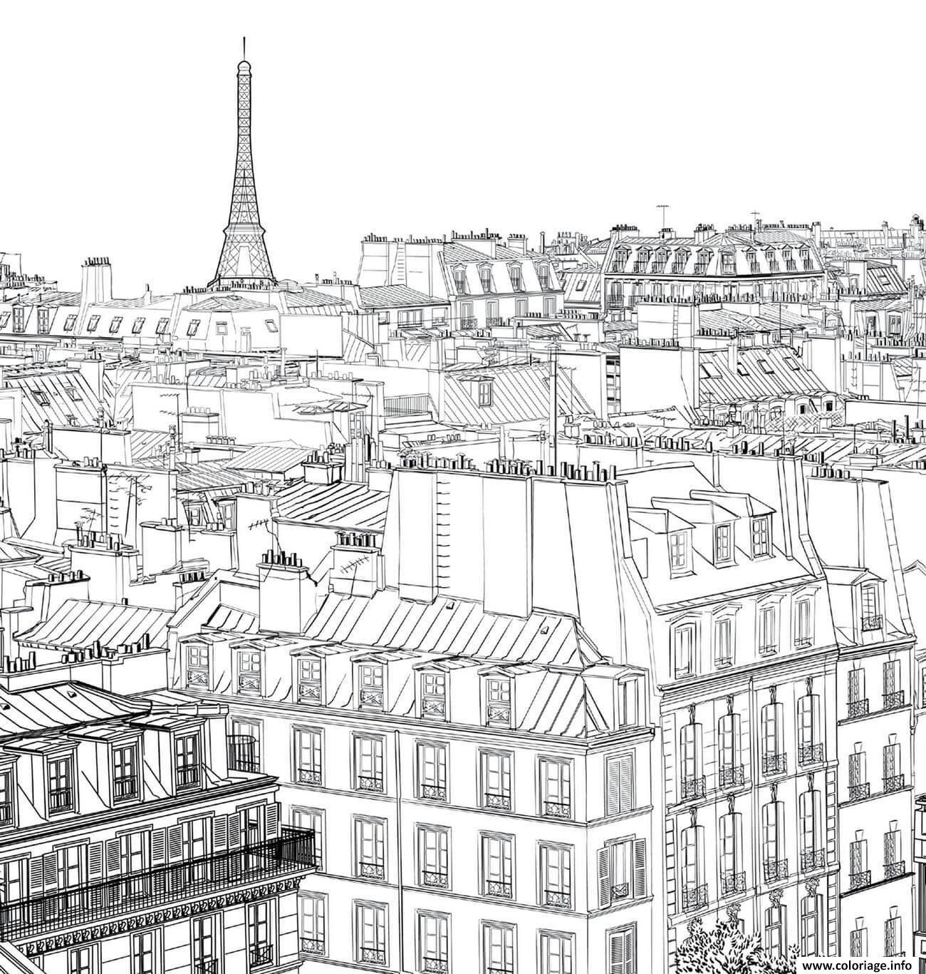 Dessin paysage maisons ville de paris Coloriage Gratuit à Imprimer