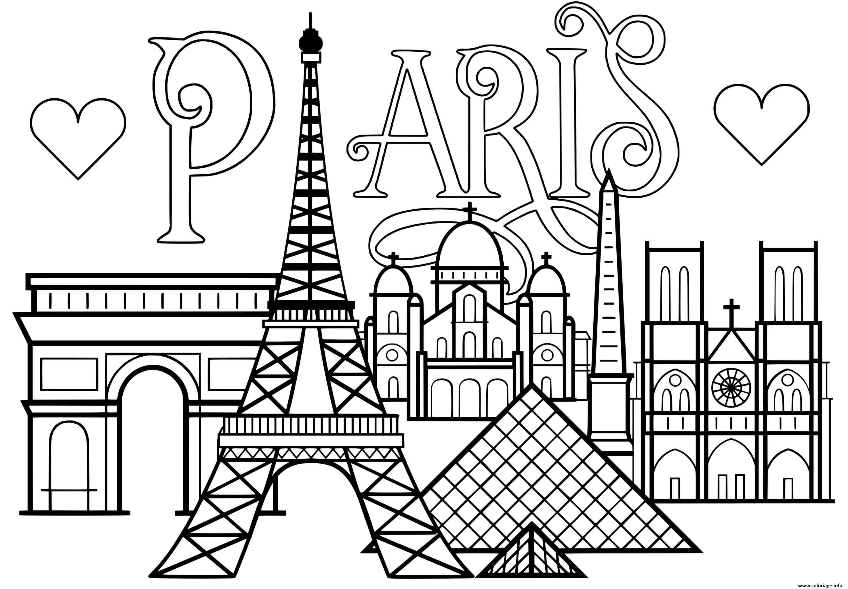 Dessin ville de paris monuments Tour Eiffel Arc de triomphe Cathedrale Notre Dame de Paris Coloriage Gratuit à Imprimer